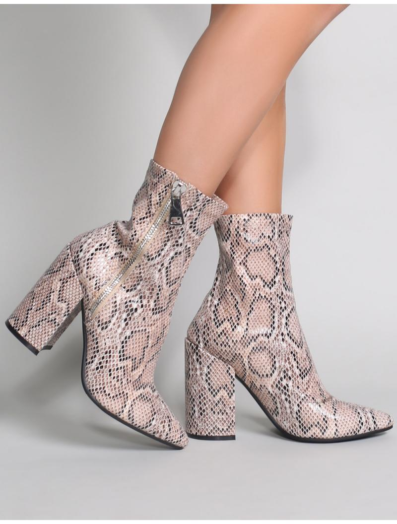 a7615bc02f1f Lyst - Public Desire Renzo Sock Fit Ankle Boots In Snake Print