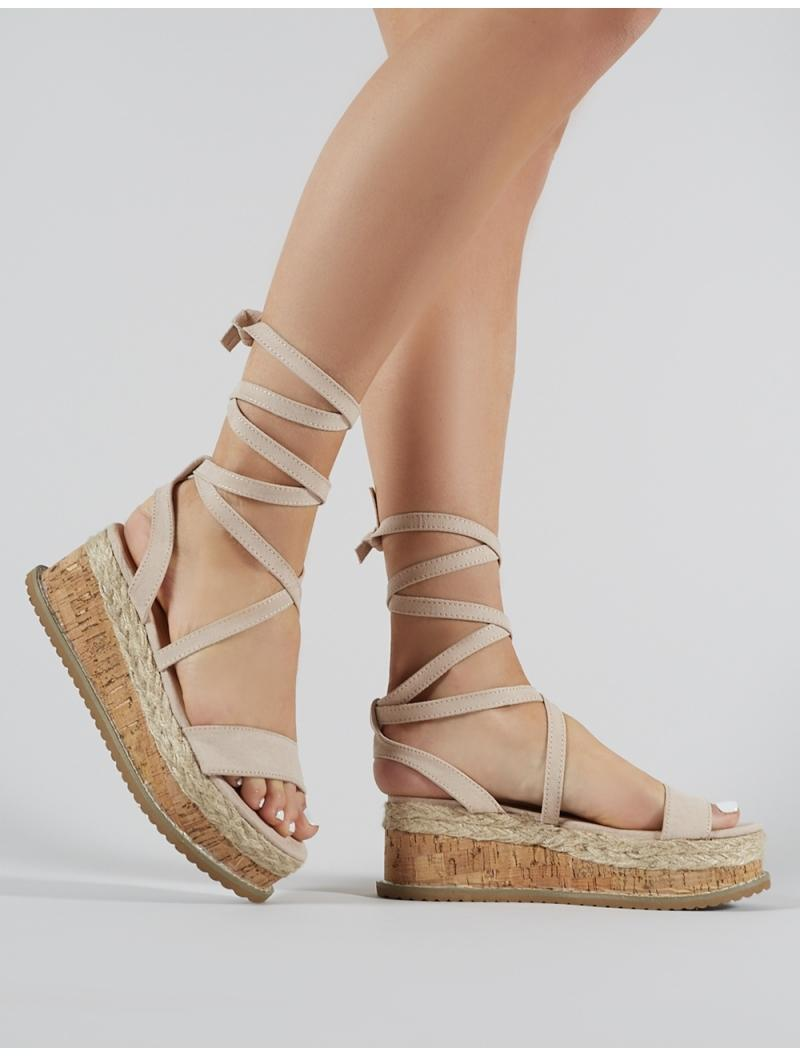 cc8735940959 Lyst - Public Desire Fresca Lace Up Sandal In Nude Faux Suede in Natural