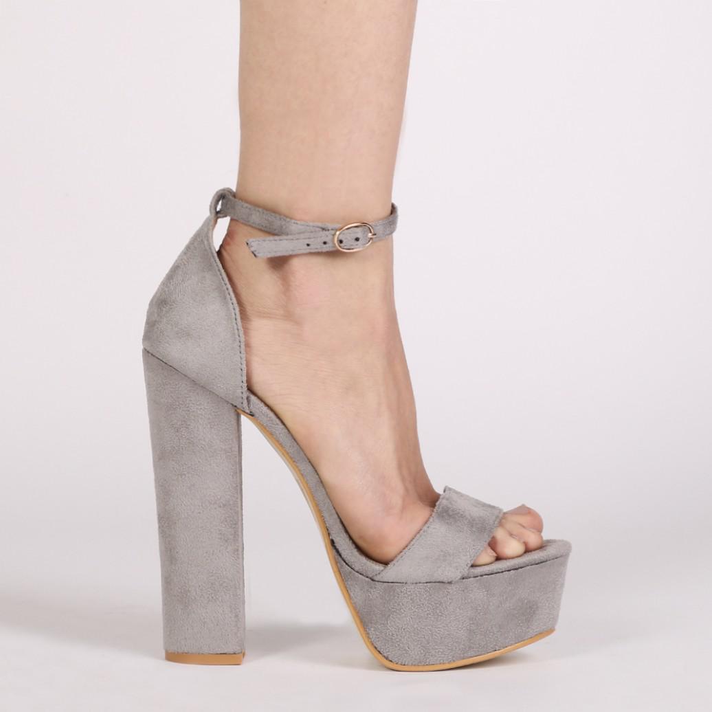 ae5f708b9a8f Lyst - Public Desire Bryn Platform High Heels In Grey Faux Suede in Gray