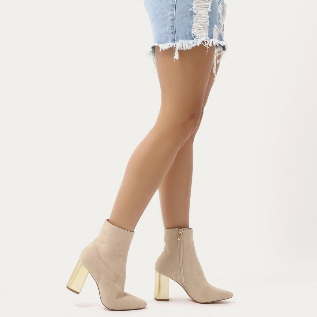 Public Desire Orla Metallic Gold Heel Ankle Boots In Nude Faux Suede ... 1fd9f8e7350