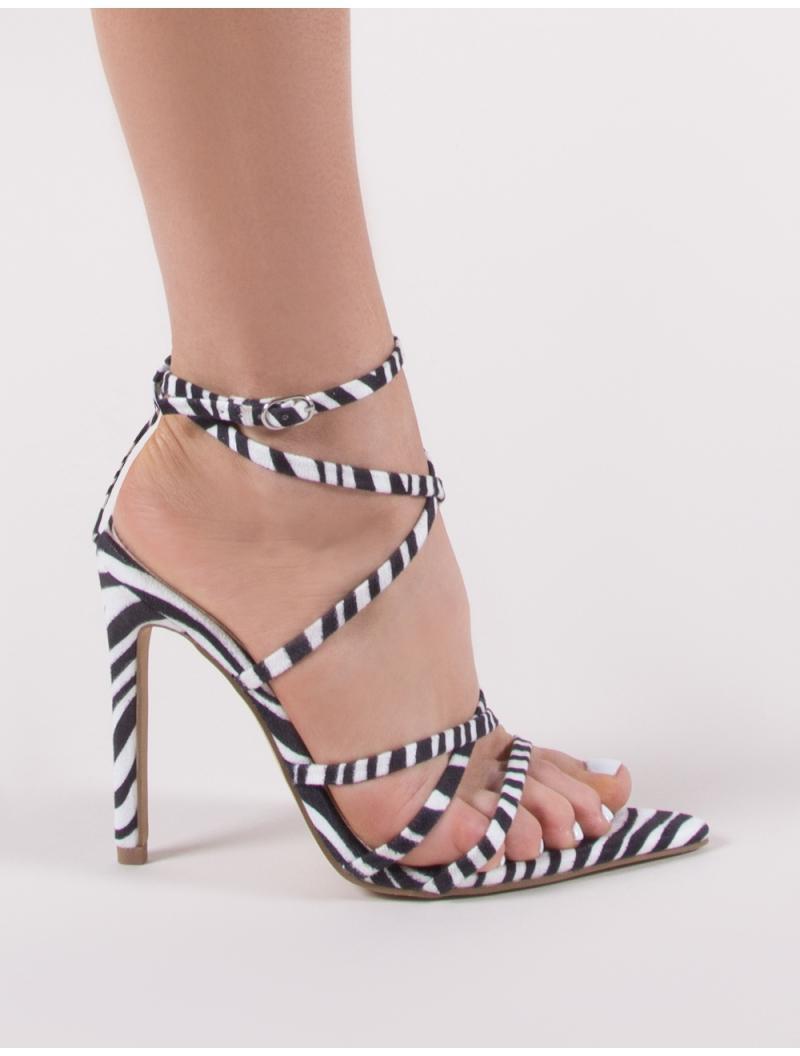 5a4d18c83e10f Public Desire Safari Pointed Strappy Heels In Zebra - Lyst