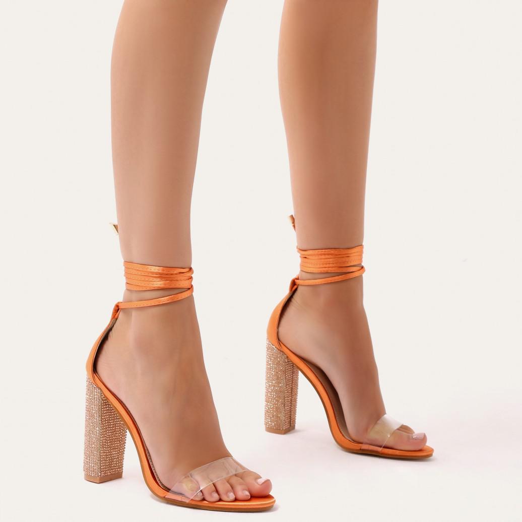 Public Desire Fancy Diamante Lace Up Heels in Satin wYGV22I