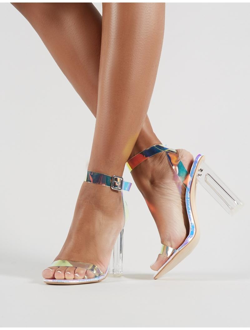 63e7cf657d6 Lyst - Public Desire Alia Strappy Perspex High Heels In Iridescent