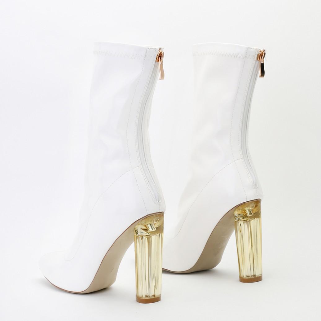 4c8a930fbd7 Lyst - Public Desire Briella Perspex Heel Boots In White Patent in White