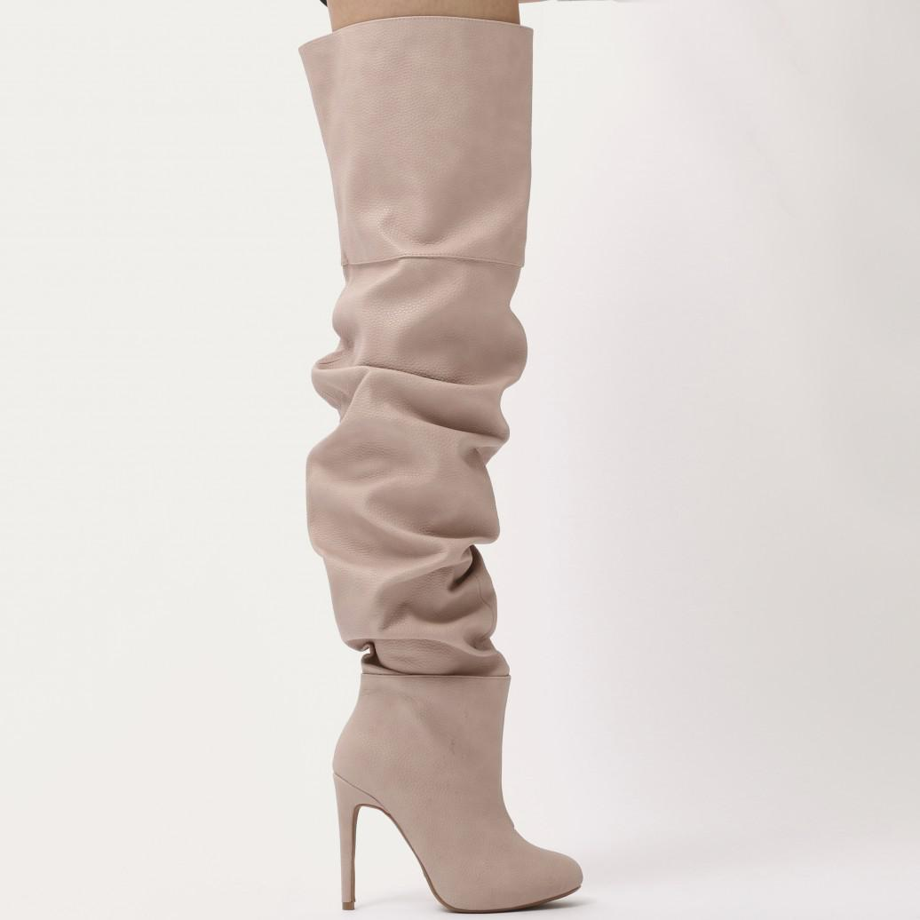 66edefdf4b6 Public Desire Ciara Over The Knee Slouch Boots In Blush Nude - Lyst