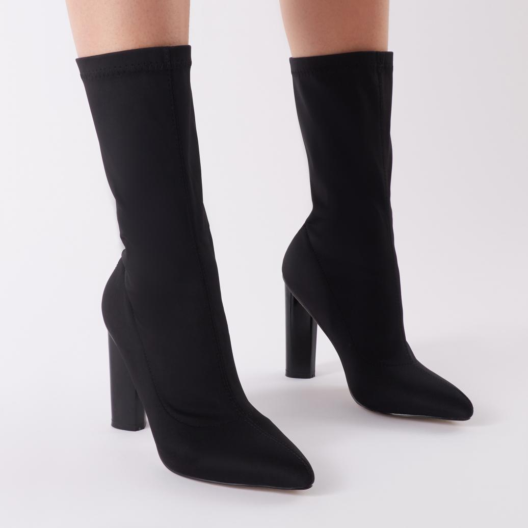 7e444a285a58 Lyst - Public Desire Cayden Heeled Sock Boots In Black Stretch in Black