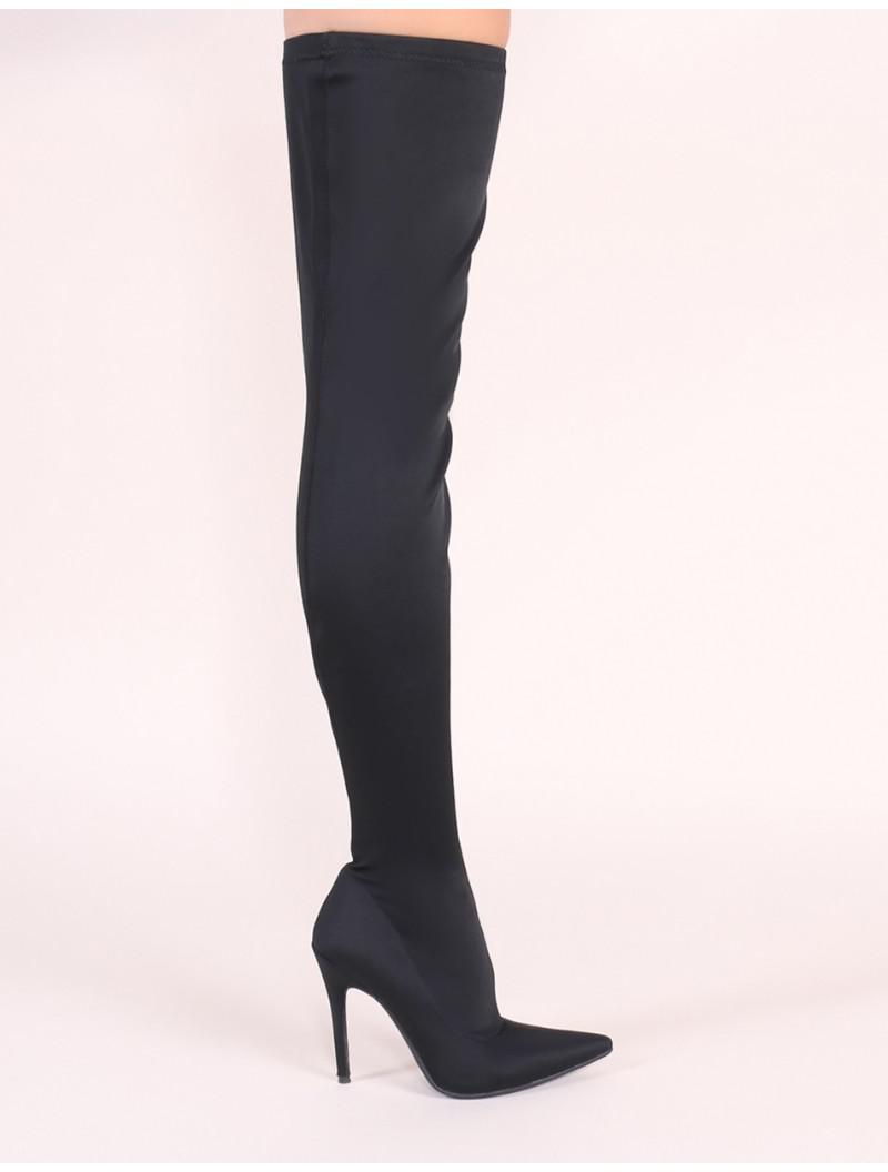 b15bf9b1d7 Public Desire Dazzle Sock Fit Pointed Toe Over The Knee Boots In ...
