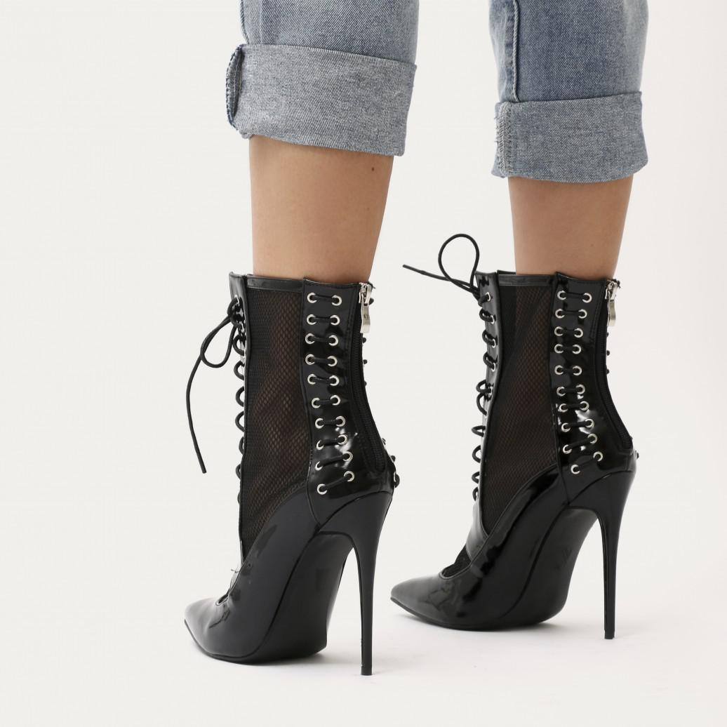 bf3eca45c88475 Lyst - Public Desire Eshal Lace Up Mesh Detail Pointed Toe Ankle ...
