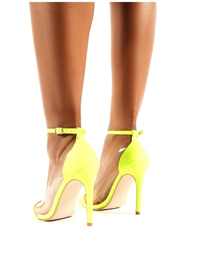 07def686b52 Women's Debut Neon Yellow Perspex Stiletto Heels
