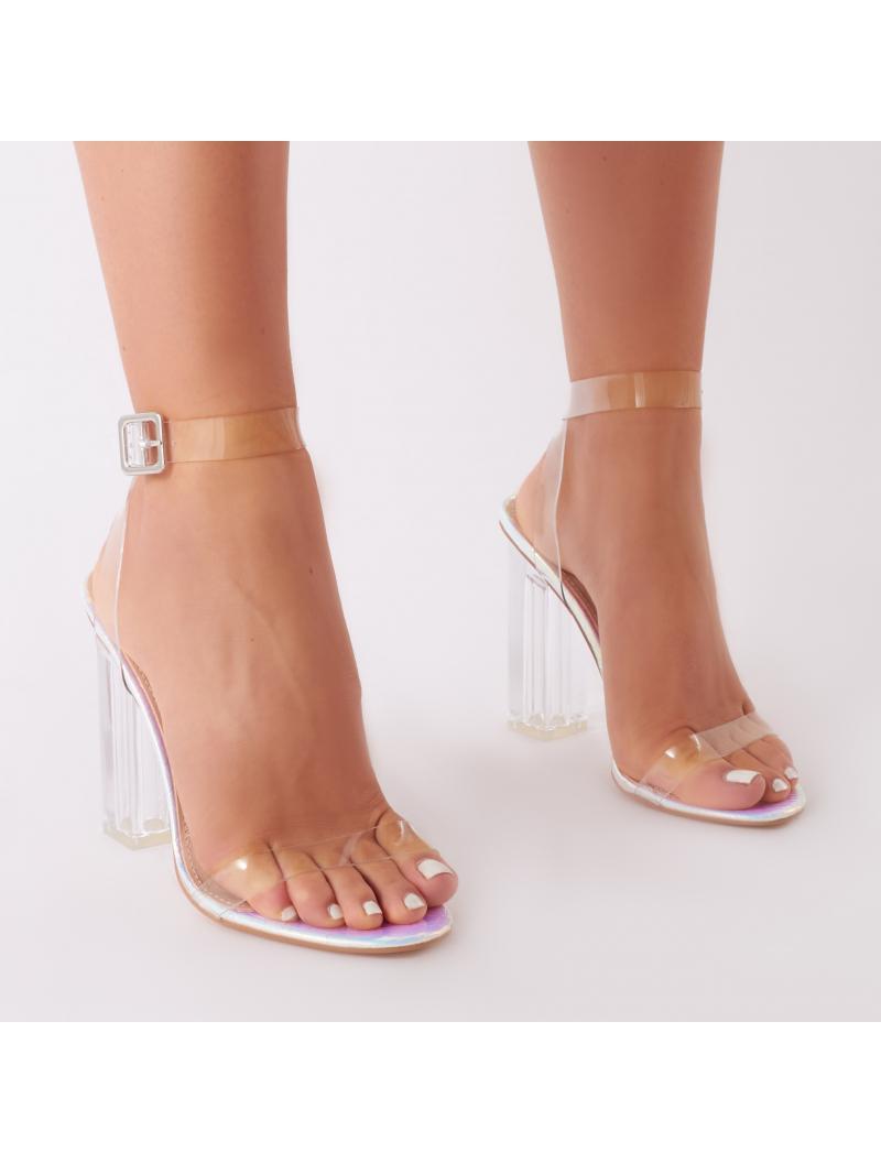 dd3c63e3dfa Lyst - Public Desire Alia Strappy Perspex High Heels In Iridescent ...