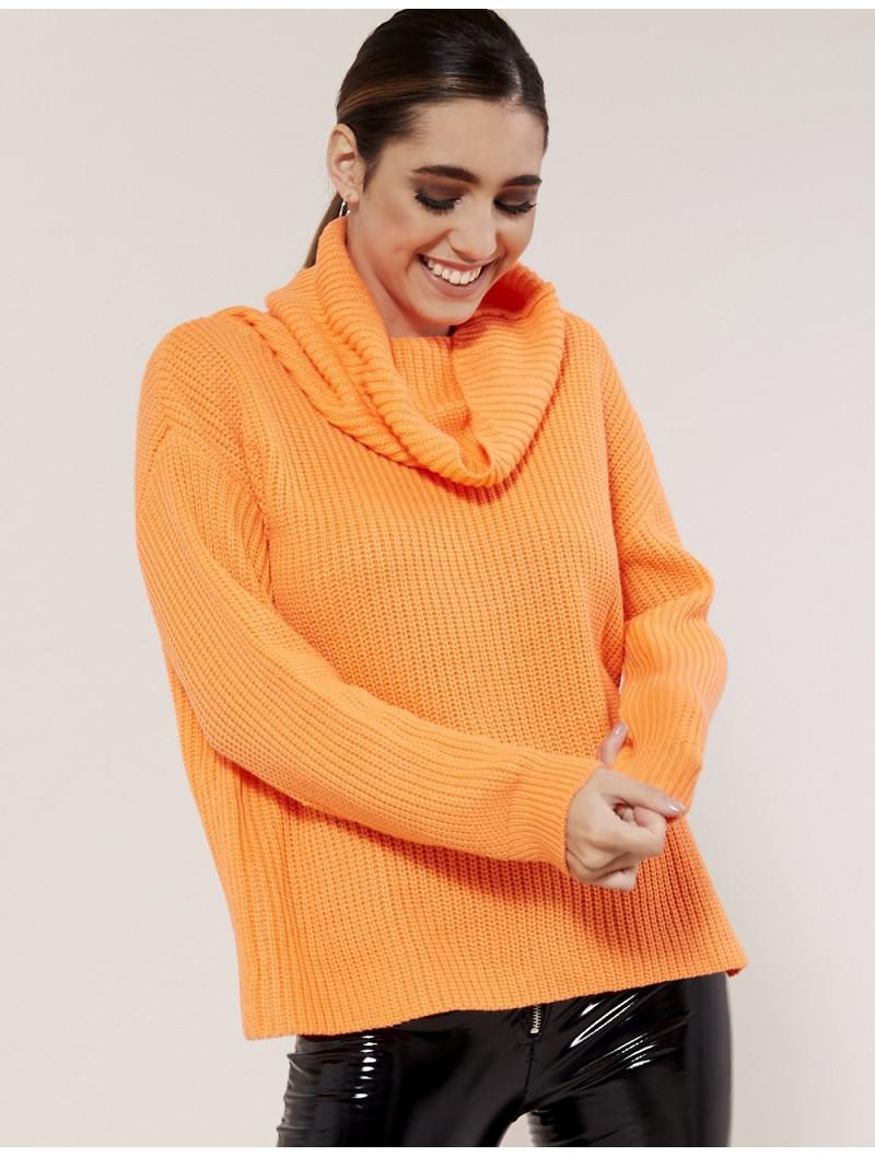 Lyst Public Desire Neon Orange Cowl Neck Jumper In Orange