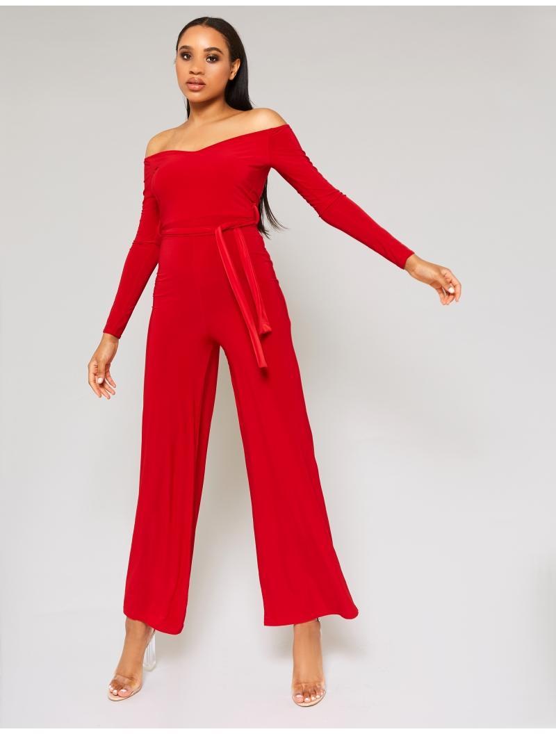 680922951b Lyst - Public Desire Red Slinky Bardot Wide Leg Jumpsuit in Red