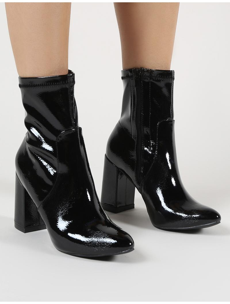 680c103b95c Public Desire Raya Pointed Toe Ankle Boots In Black Patent. View fullscreen