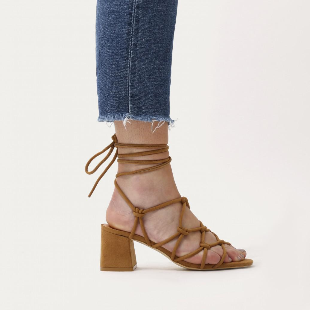 87e2af49691 Public Desire Freya Knotted Strappy Block Heeled Sandals In Tan Faux ...