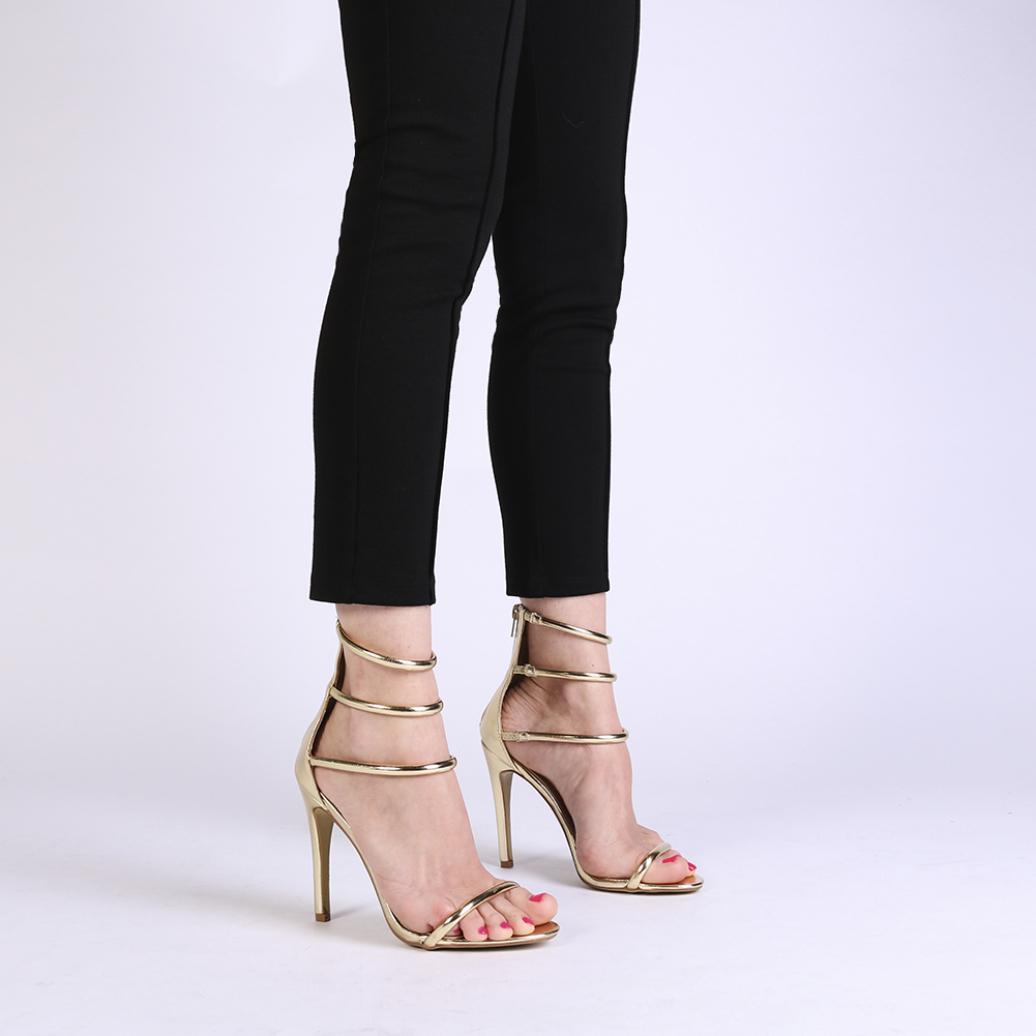 0000d38990e810 Lyst - Public Desire Nikki Strappy Stilettos In Gold in Metallic