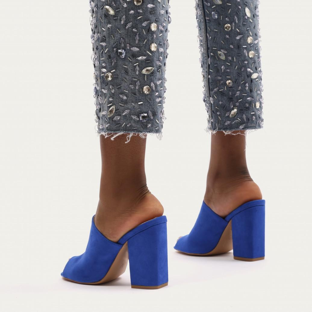 bc5c512f19e4 Public Desire Sian Block Heel Mules In Blue Faux Suede in Blue - Lyst