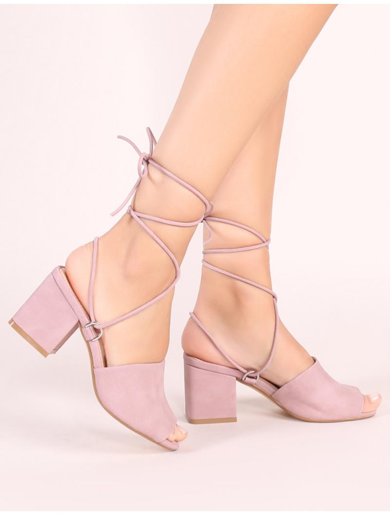 e8e5f7028c58 Public Desire Paddington Lace Up Block Heeled Mules In Mauve in ...