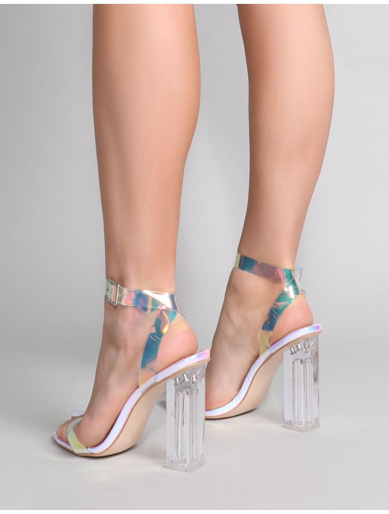83fa8e75d9e Public Desire - Multicolor Alia Strappy Perspex High Heels In Iridescent -  Lyst. View fullscreen