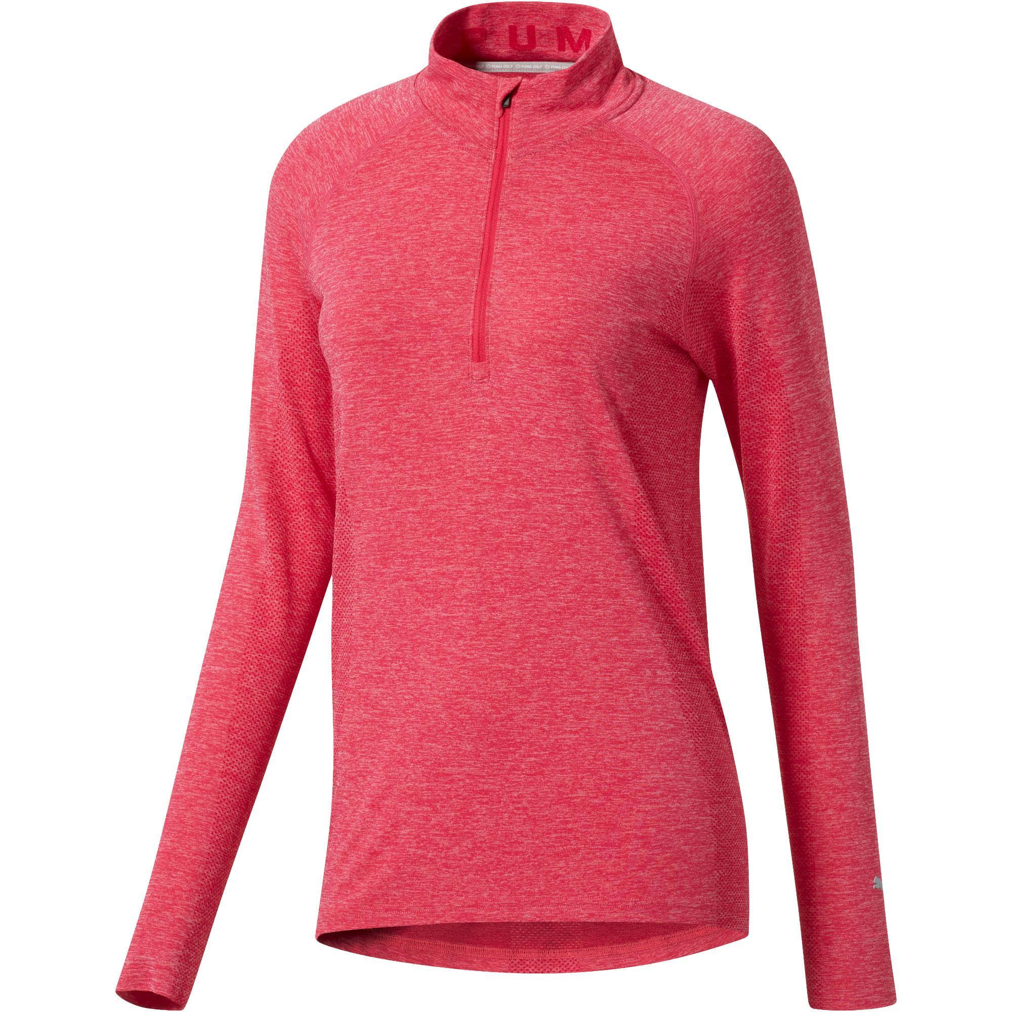 Lyst - Puma Evoknit Seamless Quarter Zip Golf Top in Red c3037ff5df