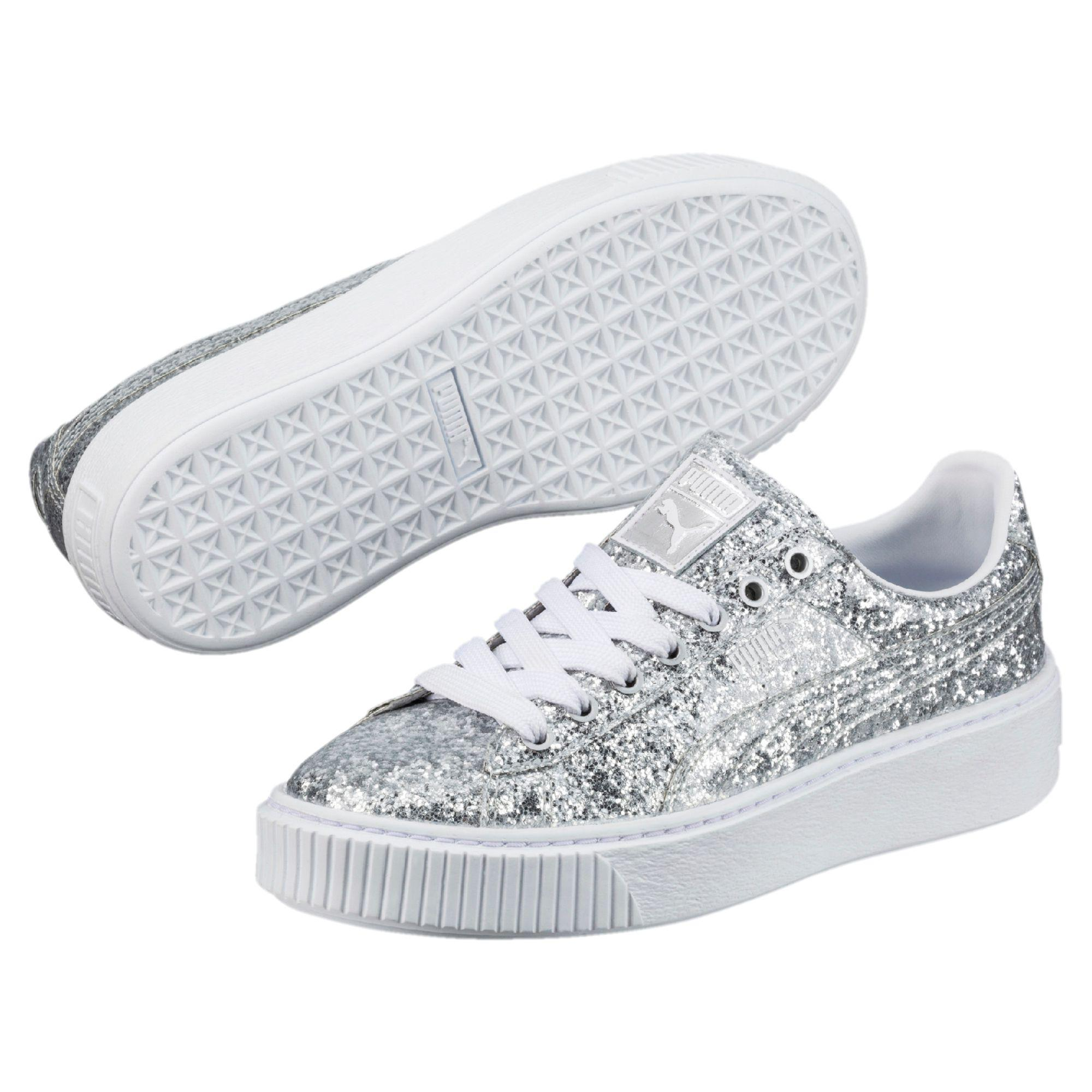 Puma Basket Platform Glitter Wn's Sneakers Women white Damen