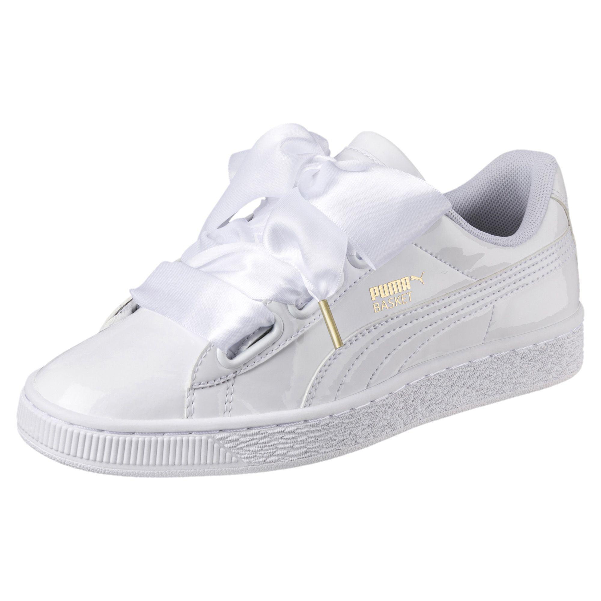 60420b95fbd5 Lyst - PUMA Basket Heart Patent Women s Sneakers in White