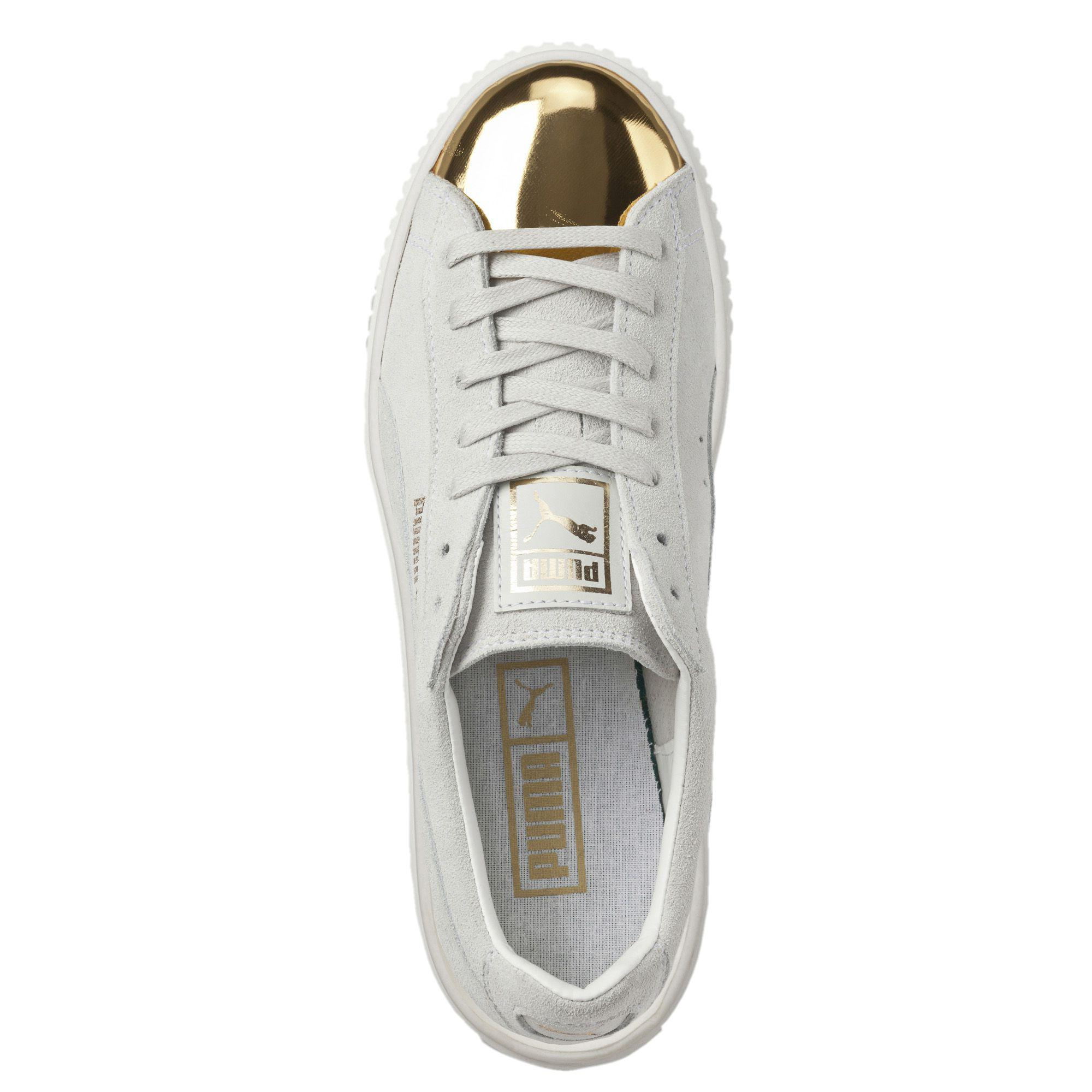 Lyst - PUMA Suede Platform Gold Women s Sneakers in White 1b314a01a