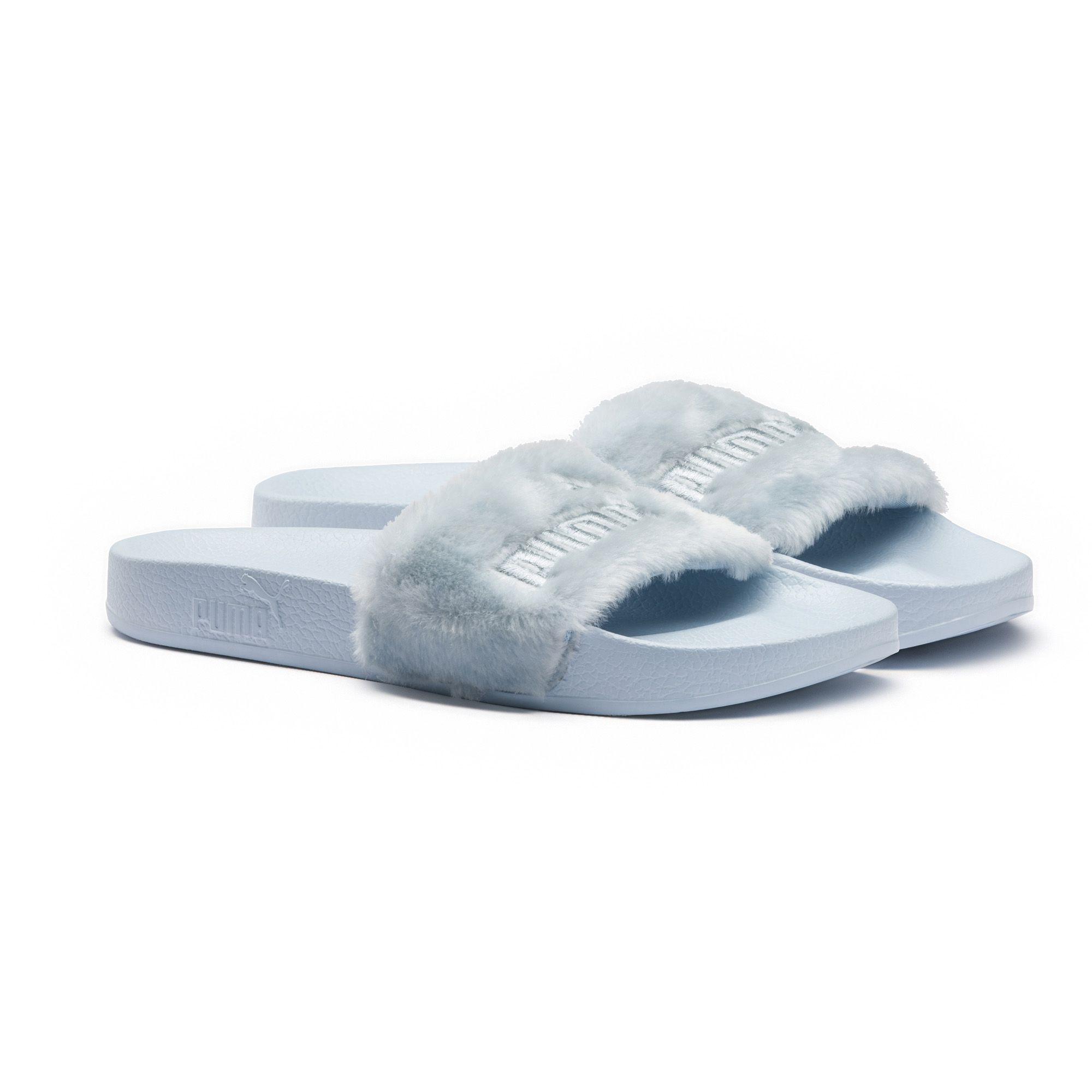 bdd67cca338c Lyst - Puma Fenty By Rihanna Faux Fur Slide Sandal in Blue
