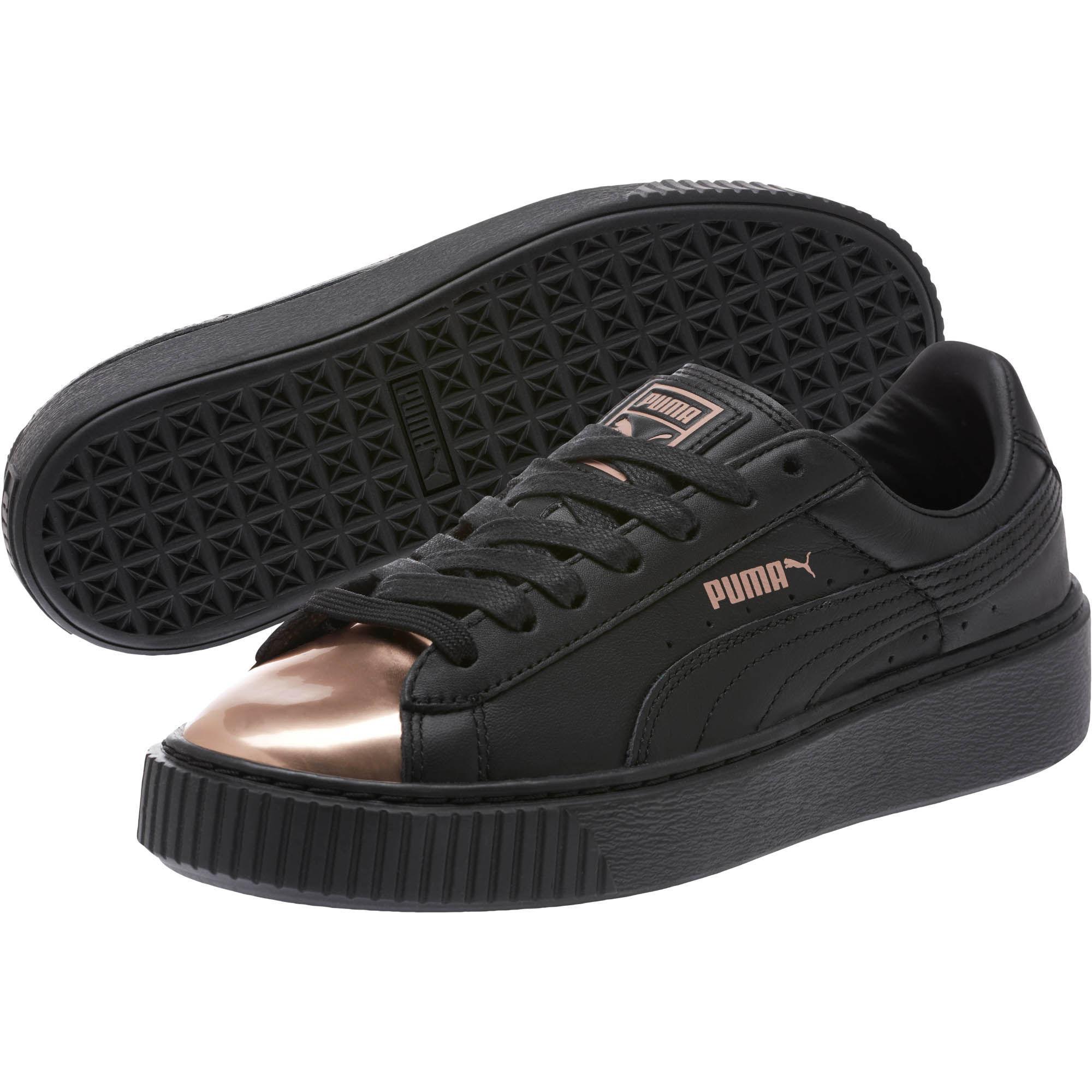 Lyst - PUMA Basket Platform Metallic Women s Sneakers in Black 05f5e454256f