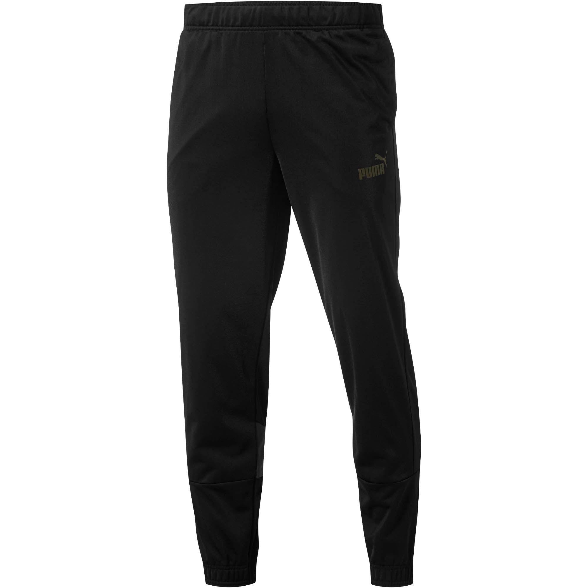 PUMA ICONIC TRICOT TRACK PANTS MENS BLACK WHITE ATHLETIC PANT