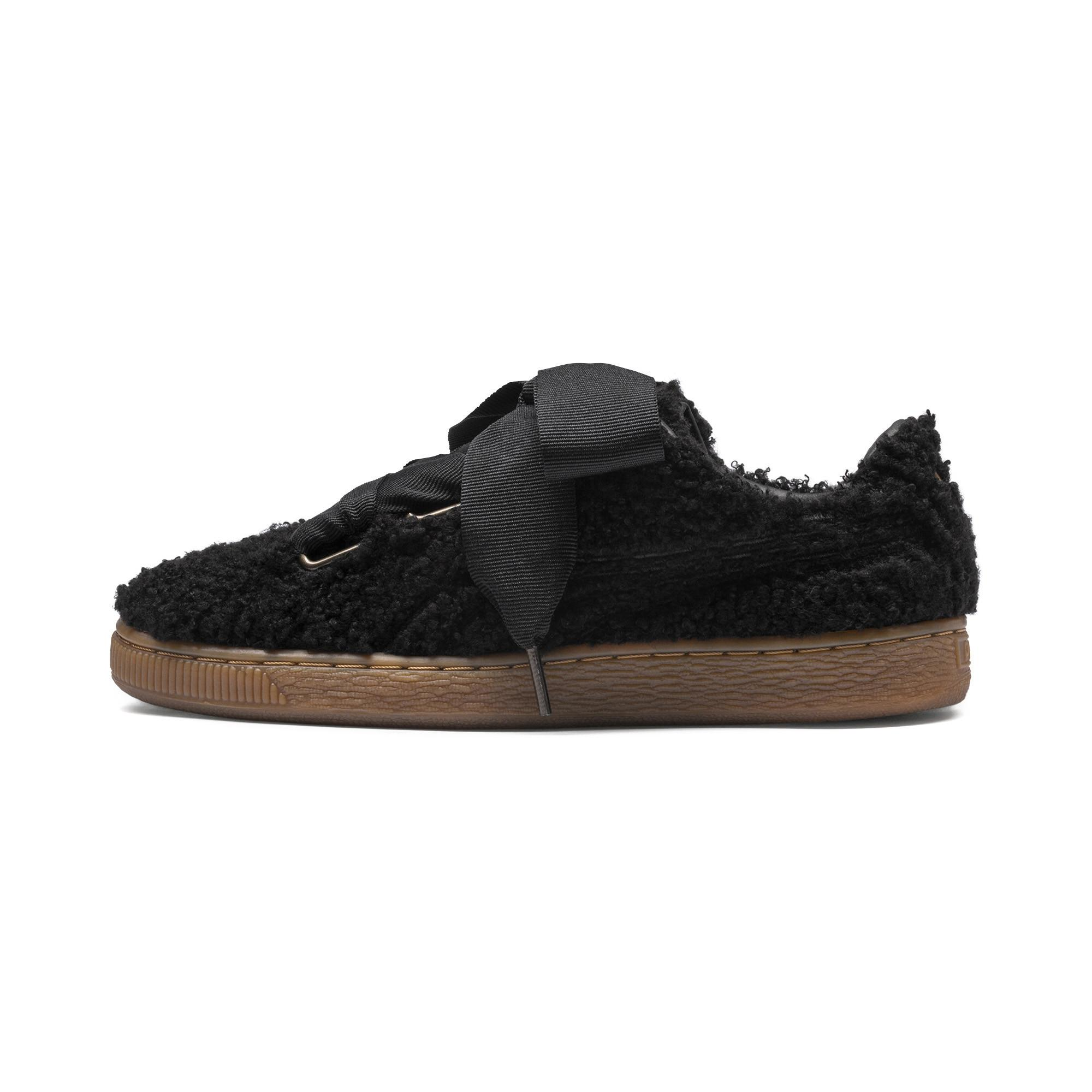 49c793c33d58 Lyst - PUMA Basket Heart Teddy Women s Sneakers in Black - Save 45%