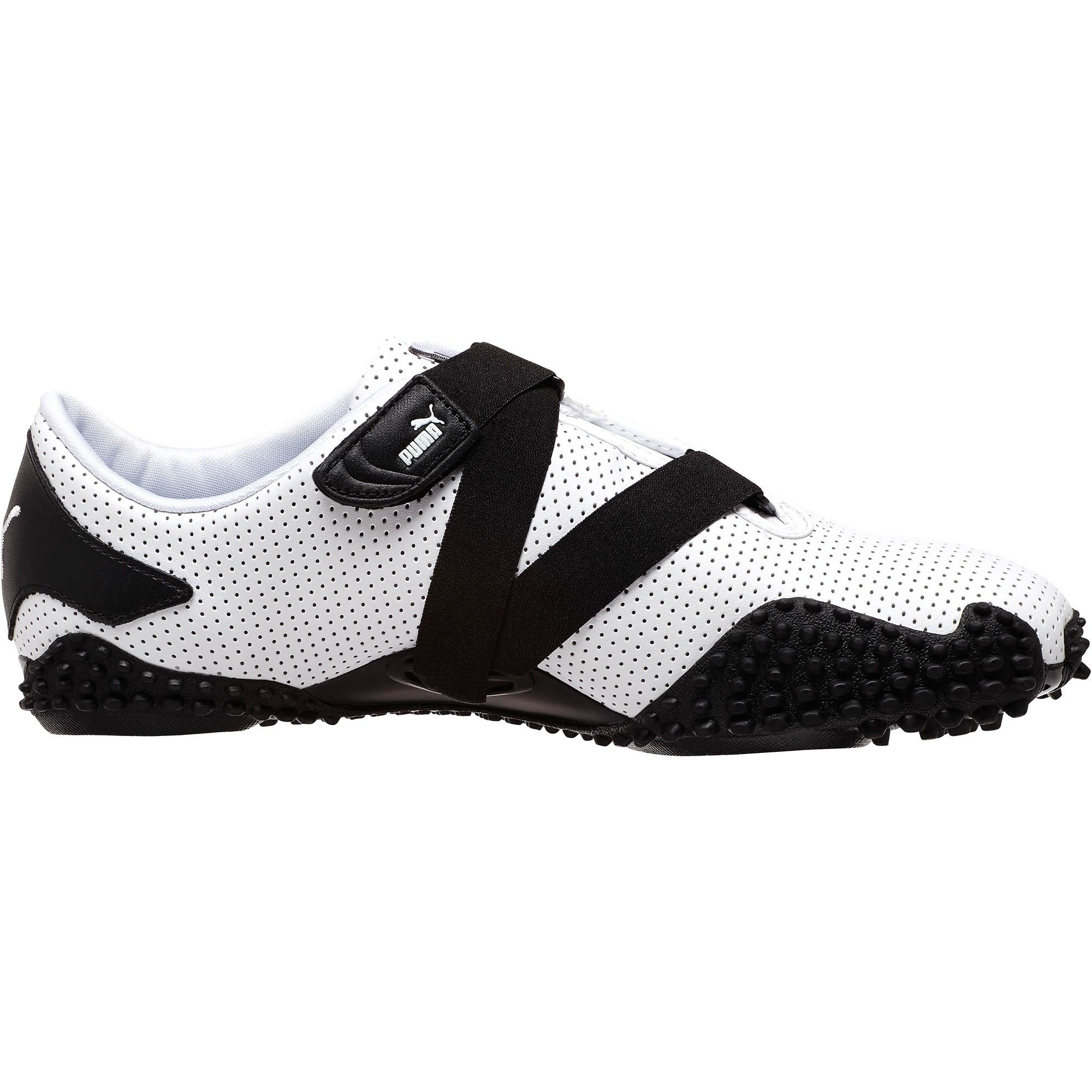 Puma Mostro Perf Leather Shoes In Black For Men White