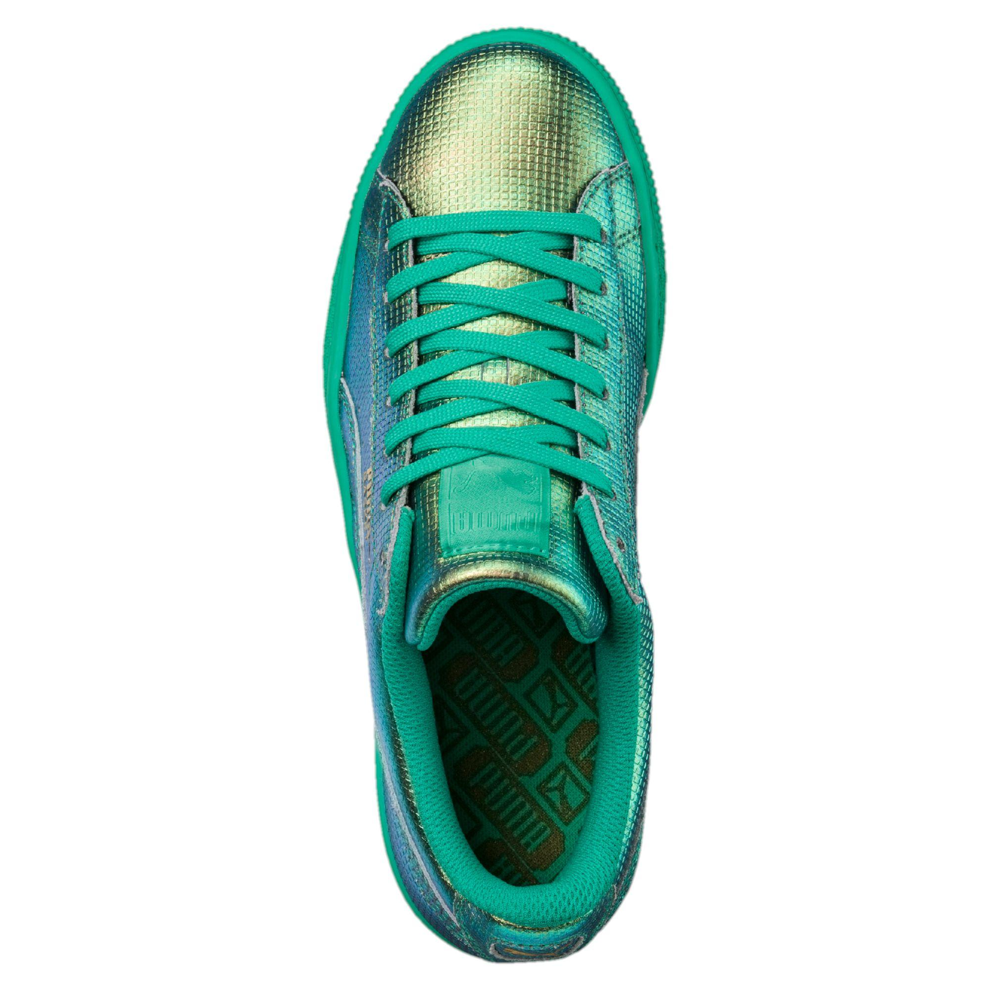 Lyst - PUMA Basket Holographic Women s Sneakers in Green 358e7776f