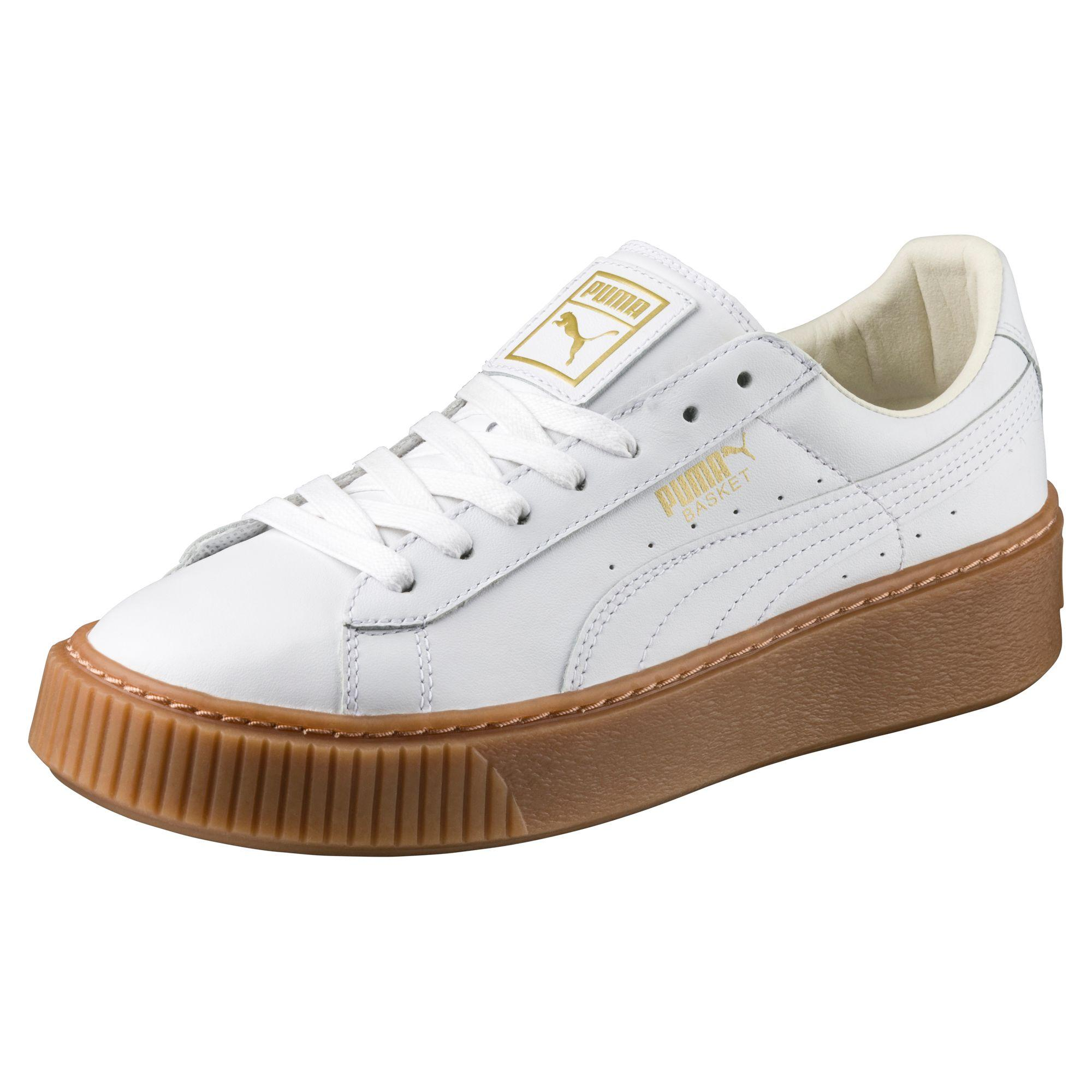 puma basket platform core women 39 s sneakers in white lyst. Black Bedroom Furniture Sets. Home Design Ideas
