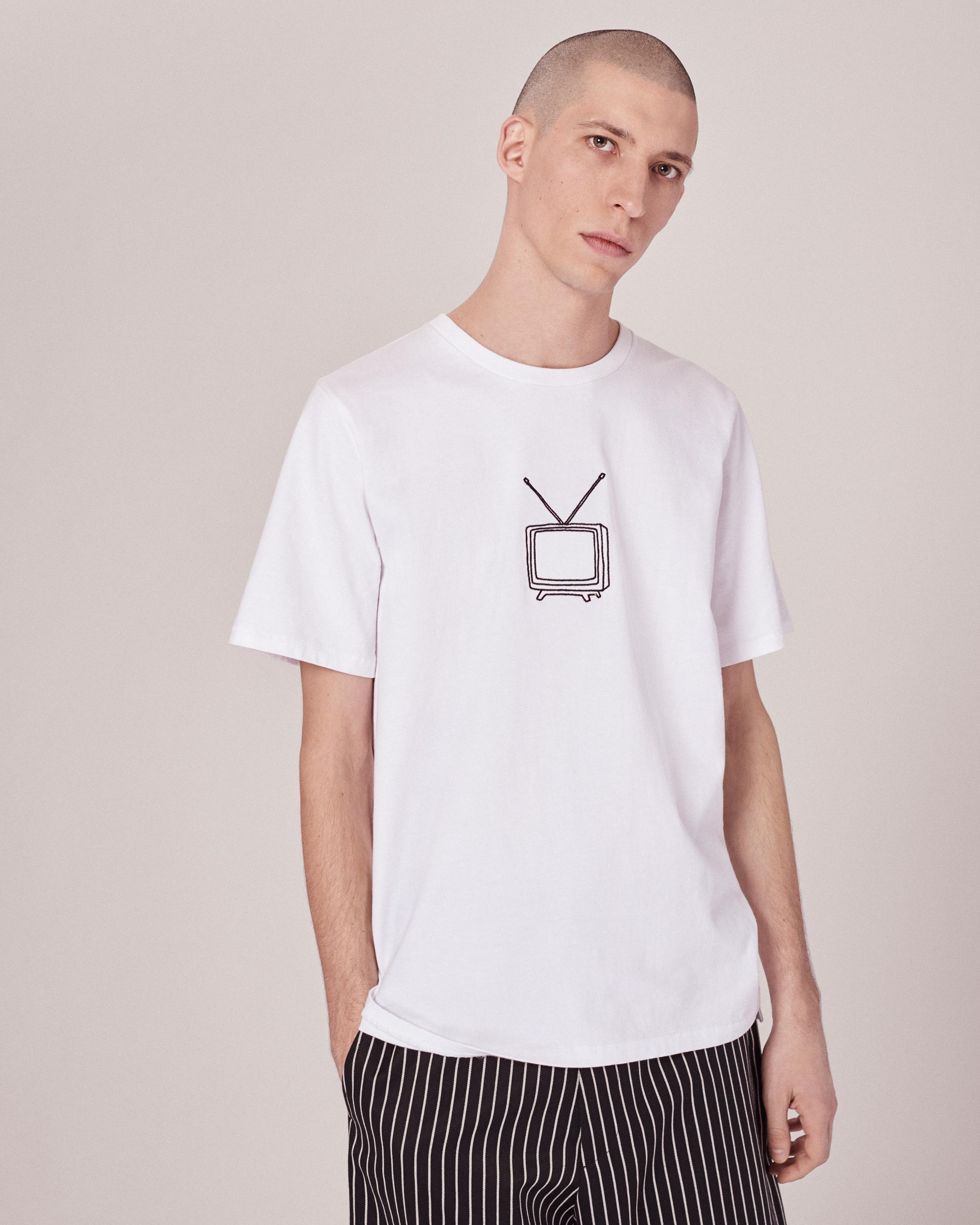 Lyst rag bone tv embroidery t shirt in white for men for Rag and bone t shirts