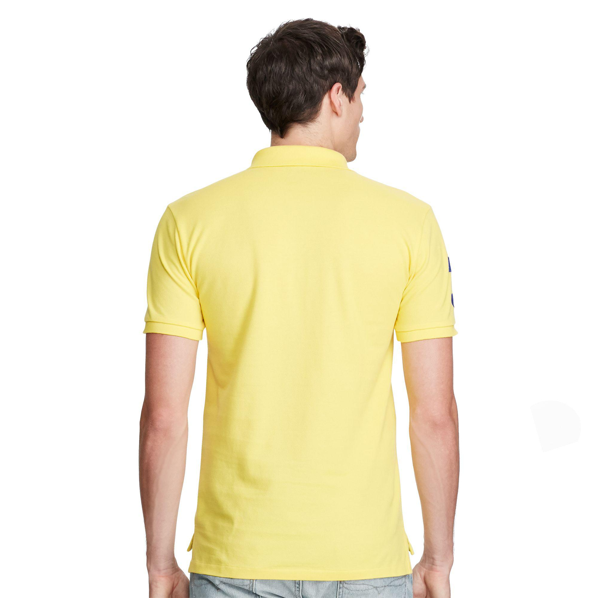 982682a11 discount polo ralph lauren slim fit big pony polo shirt in yellow for men  lyst d15fe