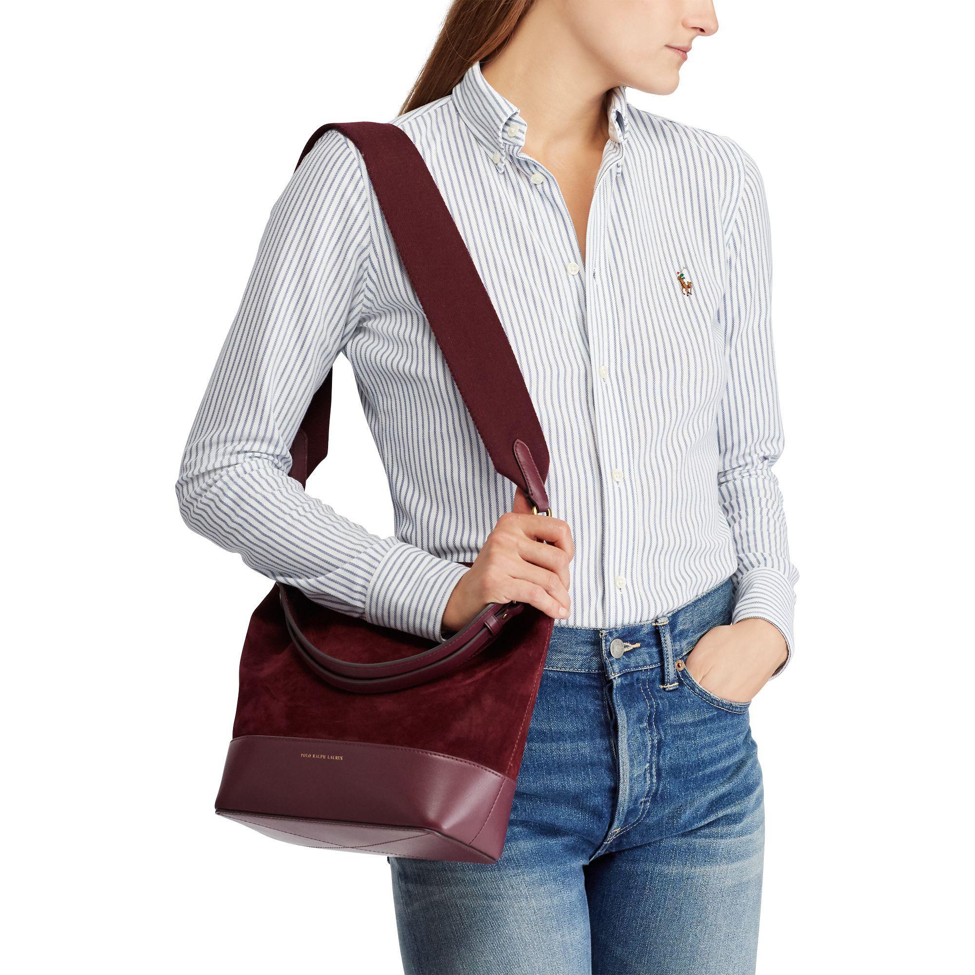 e6e6c9ad43 Lyst - Polo Ralph Lauren Small Suede Leather Hobo Bag in Purple