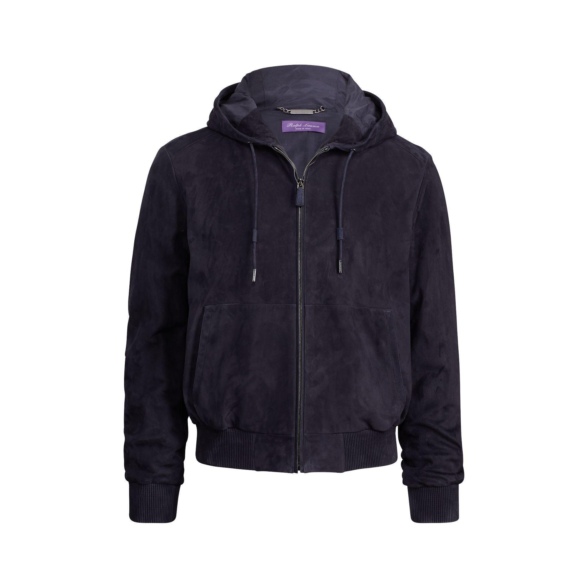 4b07a4151c3 Lyst - Ralph Lauren Purple Label Suede Full-zip Hoodie in .