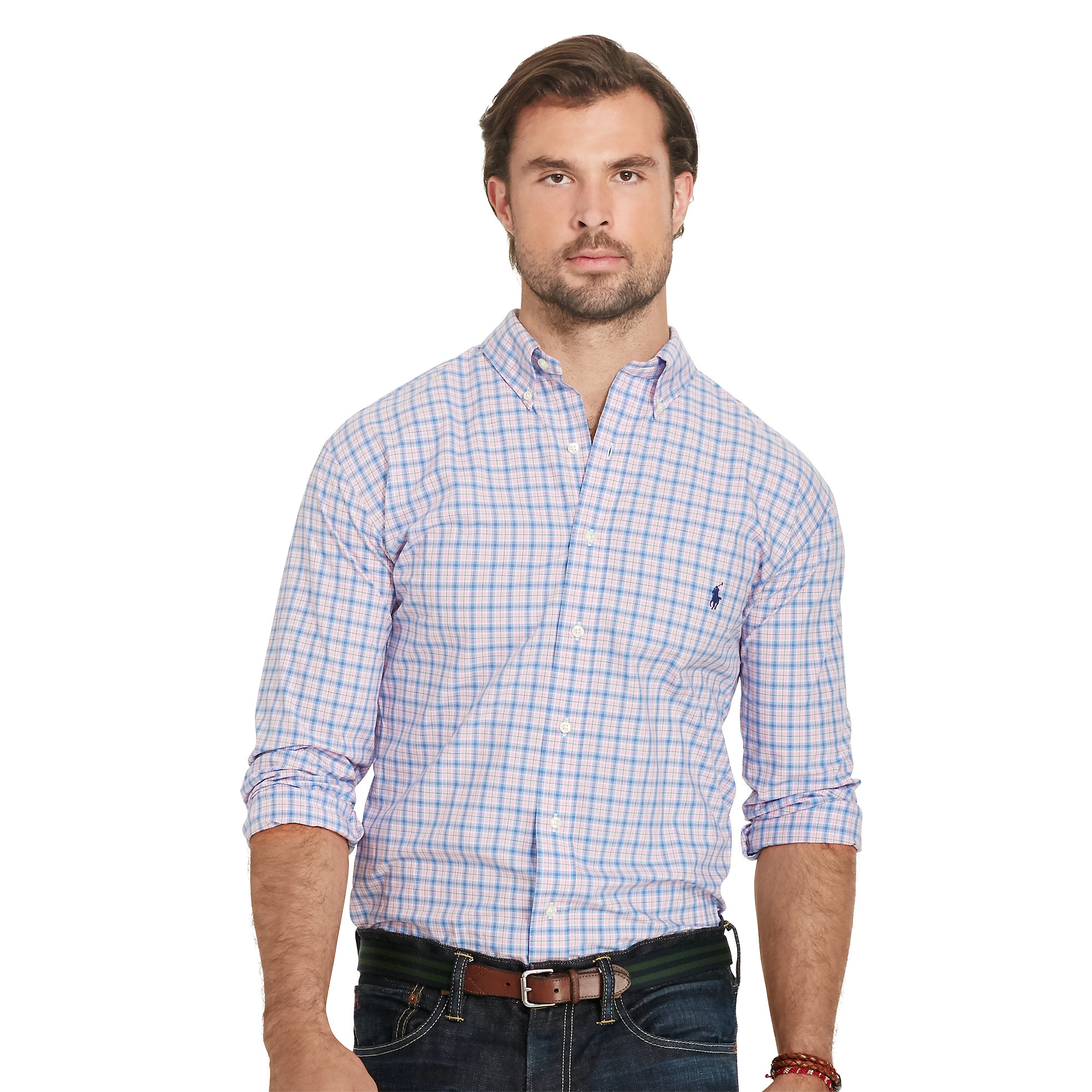 Pink pony plaid poplin sport shirt in blue for men lyst for Blue and yellow plaid dress shirt