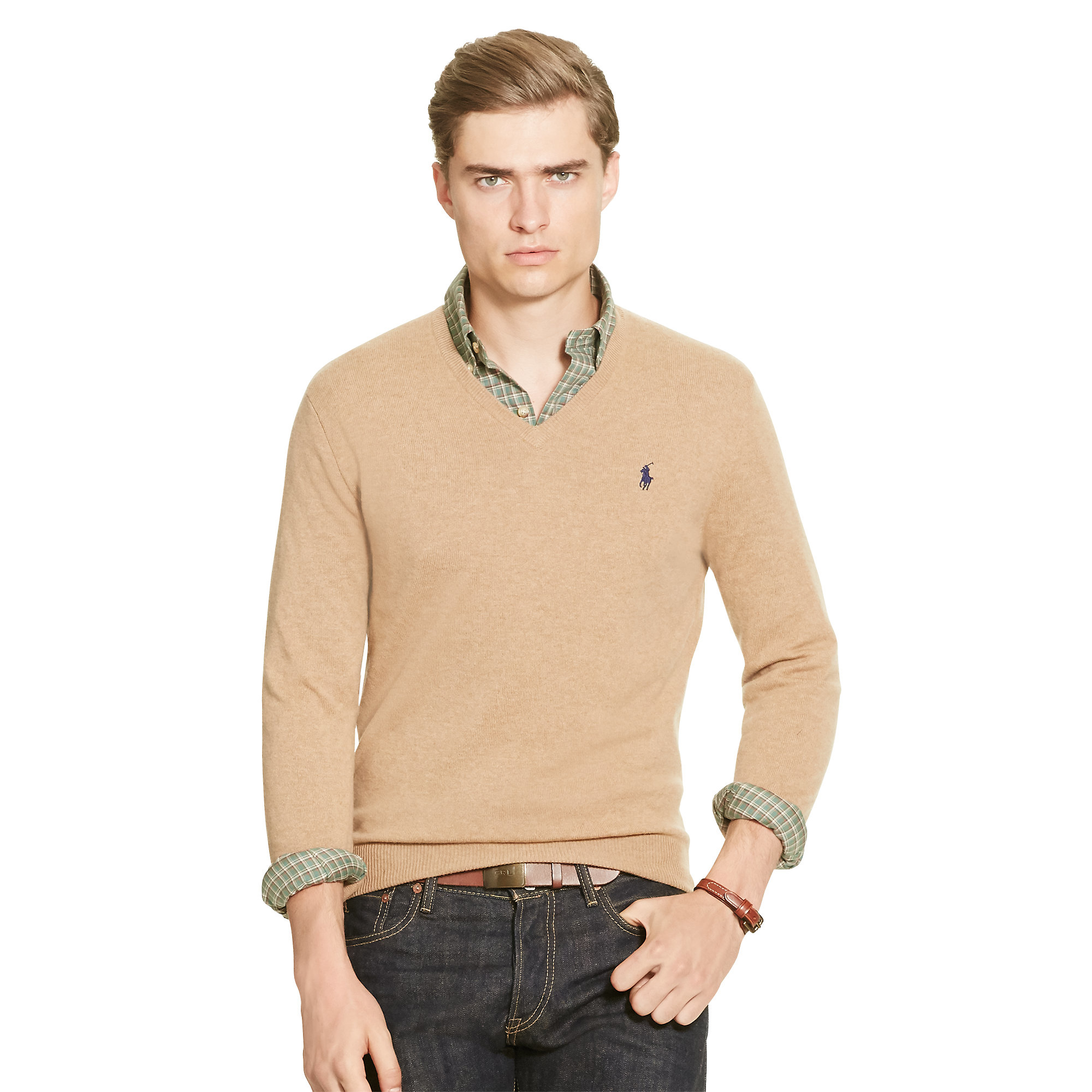 lyst polo ralph lauren merino wool v neck sweater in natural for men. Black Bedroom Furniture Sets. Home Design Ideas
