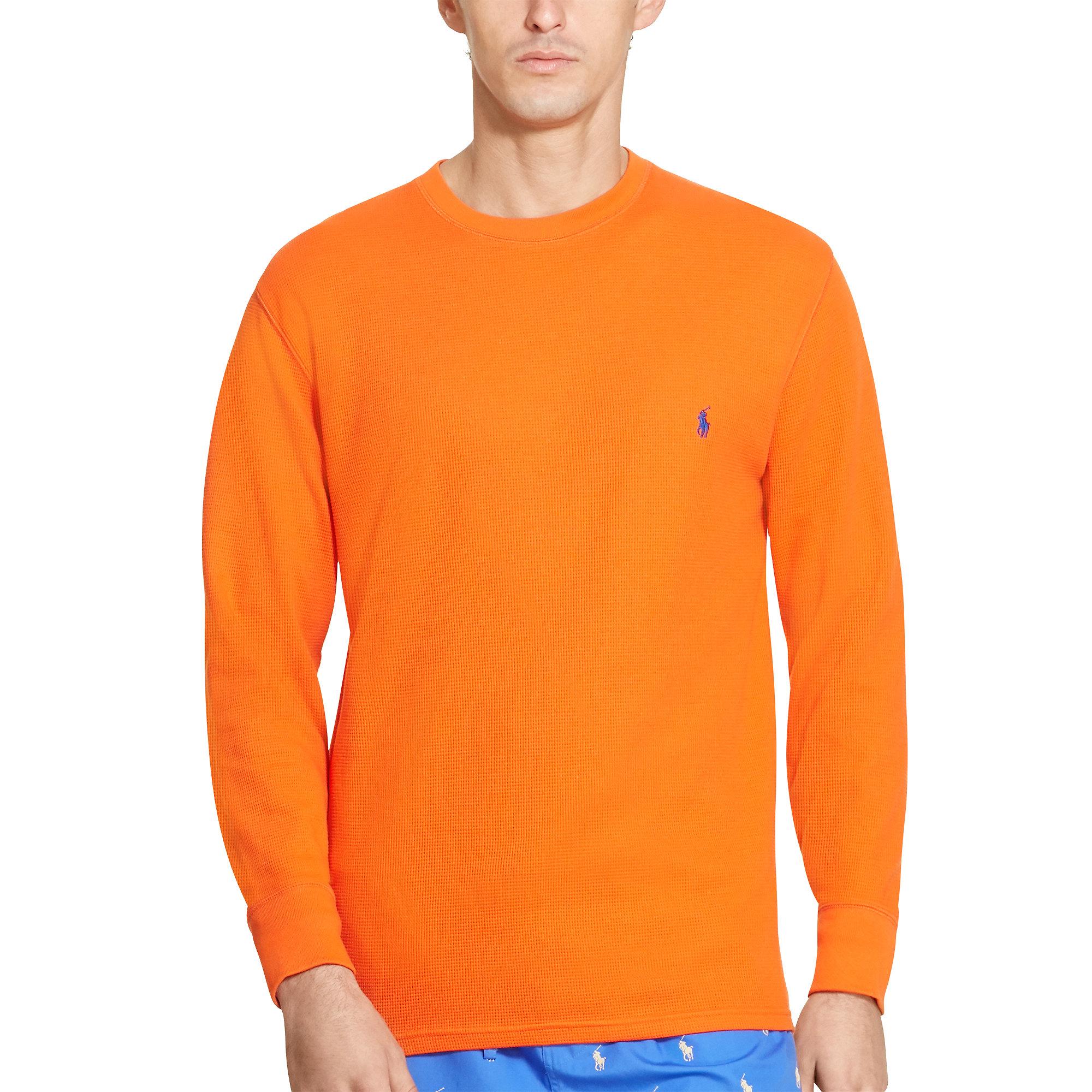 polo ralph lauren waffle knit cotton tee in orange for men lyst. Black Bedroom Furniture Sets. Home Design Ideas
