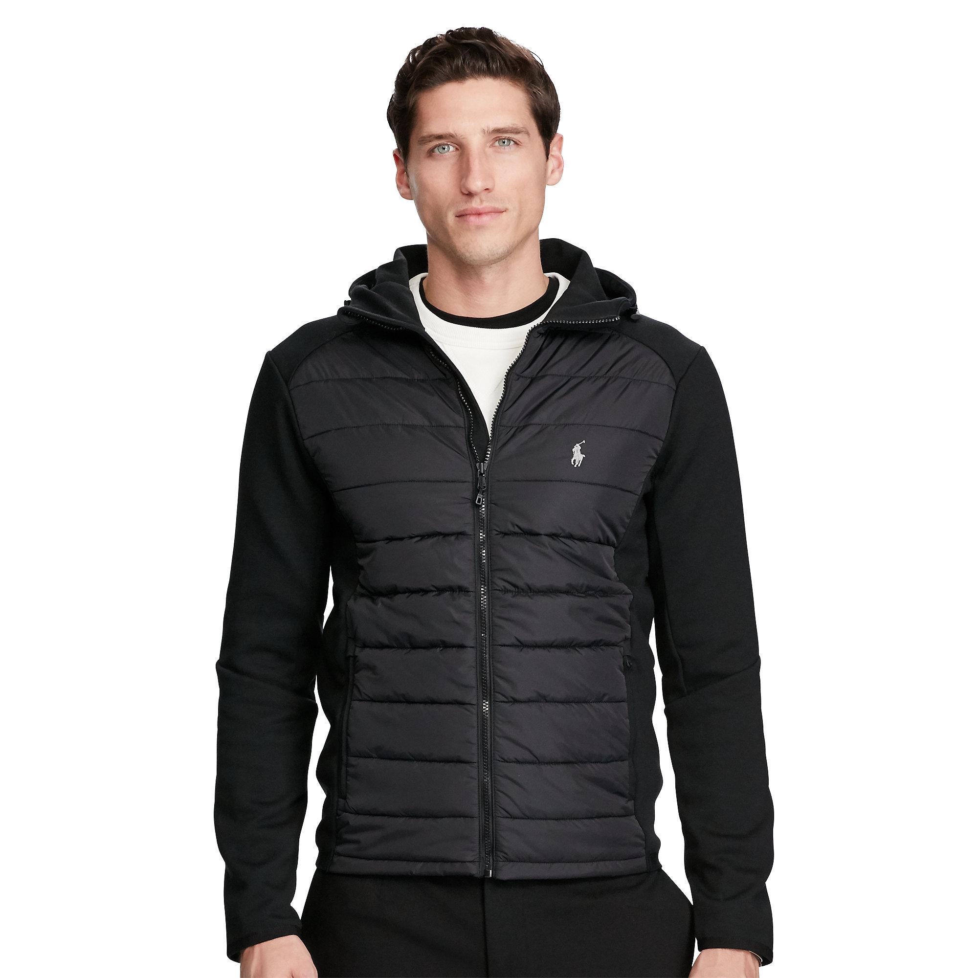 polo ralph lauren paneled full zip hoodie in black for men lyst. Black Bedroom Furniture Sets. Home Design Ideas