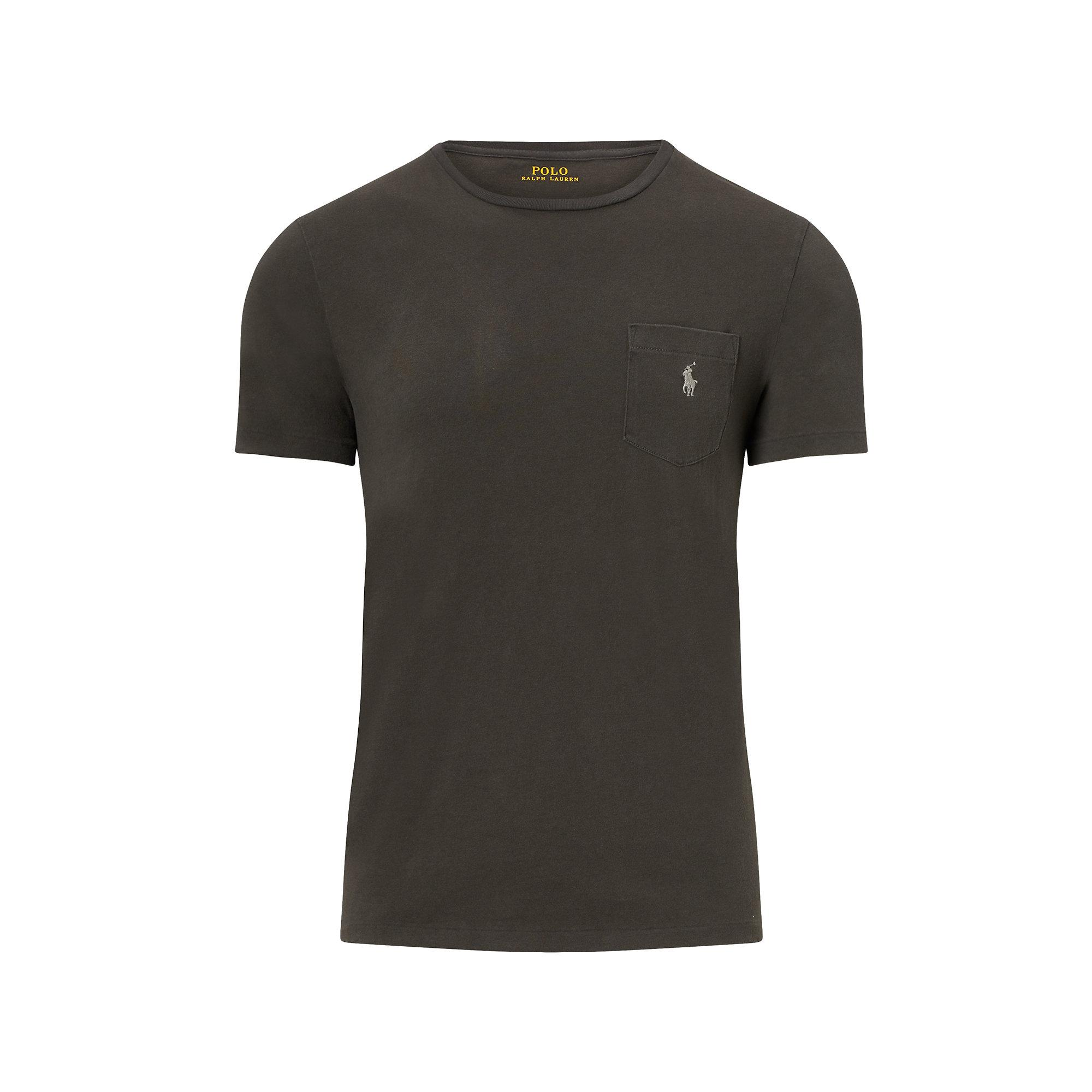 Polo ralph lauren cotton jersey pocket t shirt in black for Men s cotton polo shirts with pocket