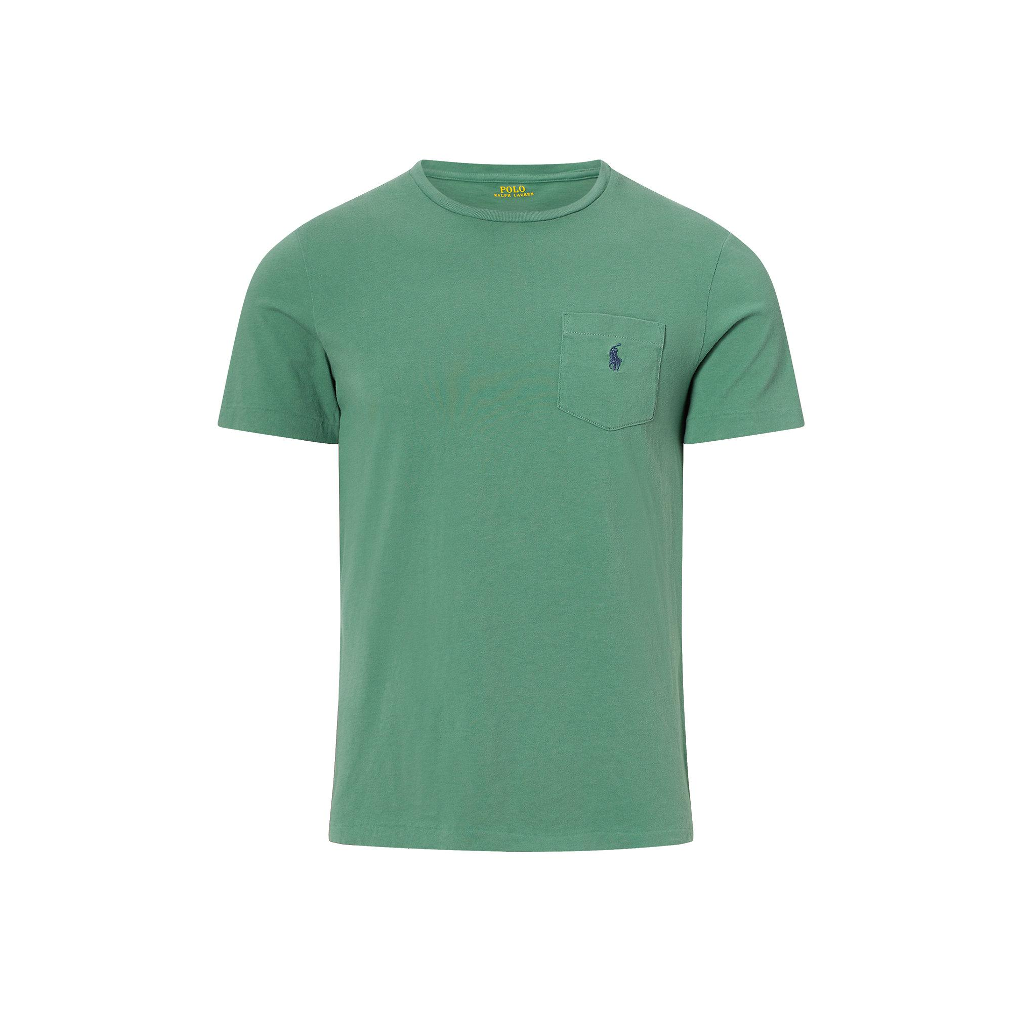 Polo ralph lauren custom fit cotton t shirt in green for for Custom fit t shirts