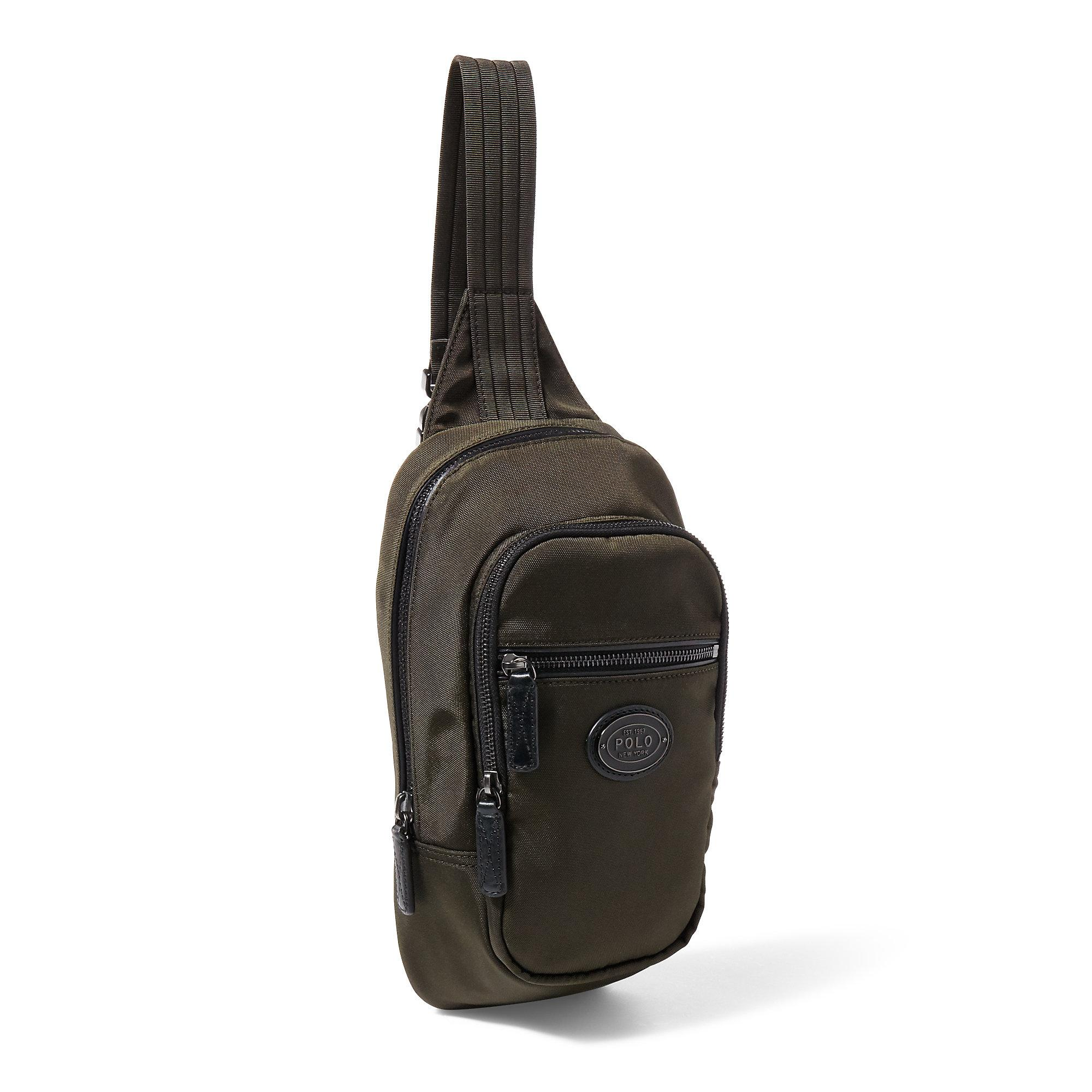 Lyst Polo Ralph Lauren Leather Trimmed Sling Bag In