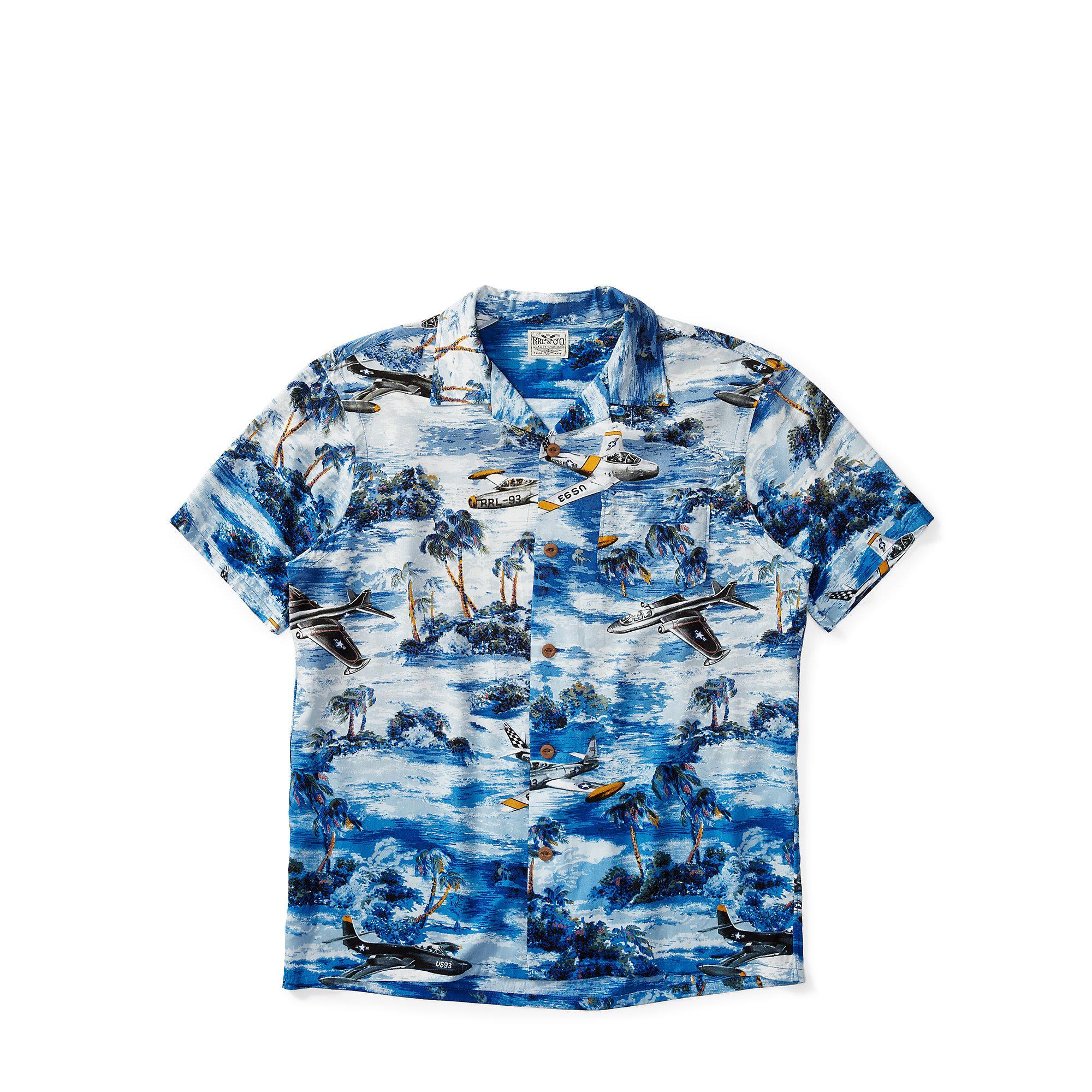 41a5054f RRL Hawaiian-print Camp Shirt in Blue for Men - Lyst