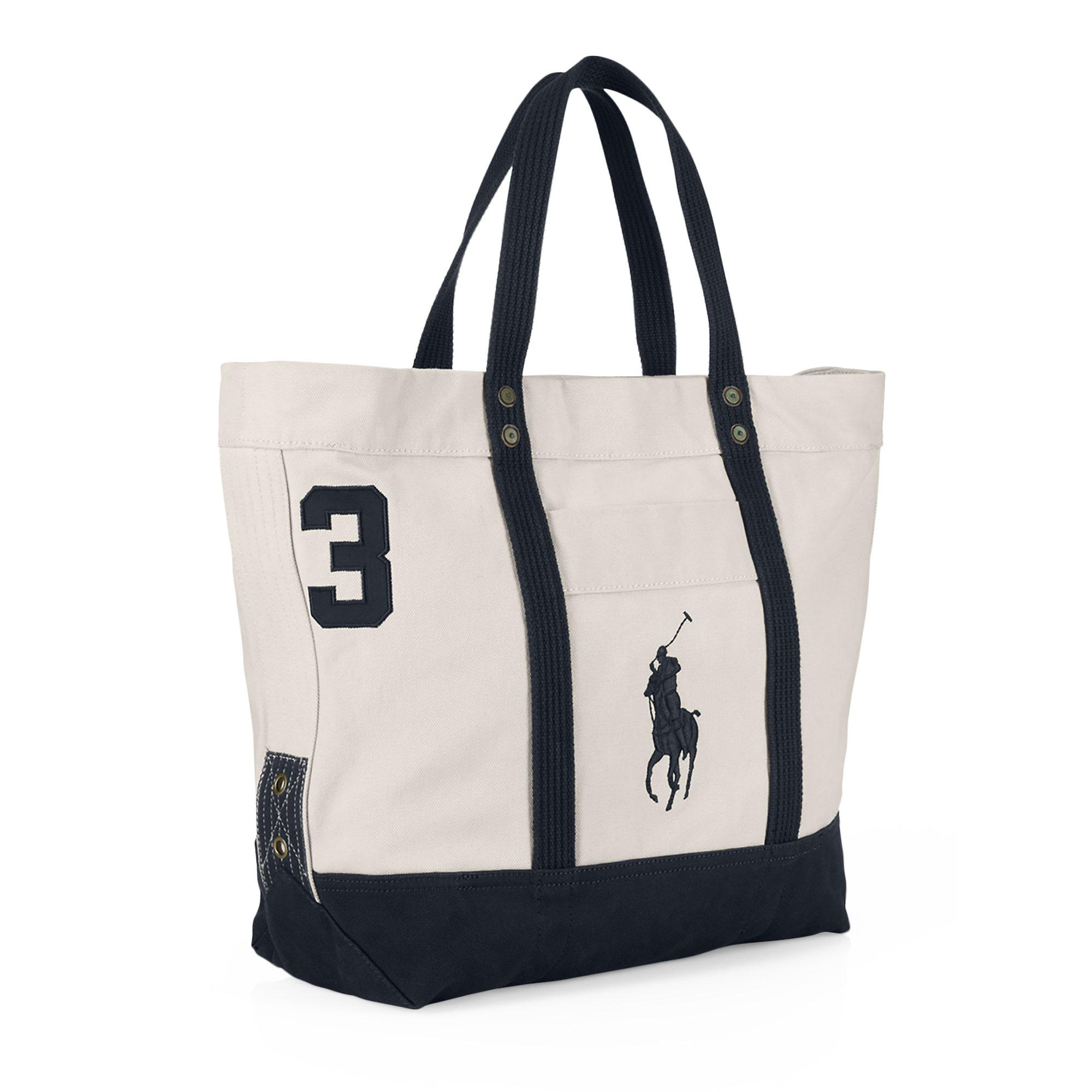 58cd61e00b Lyst - Polo Ralph Lauren Canvas Big Pony Tote in Natural for Men