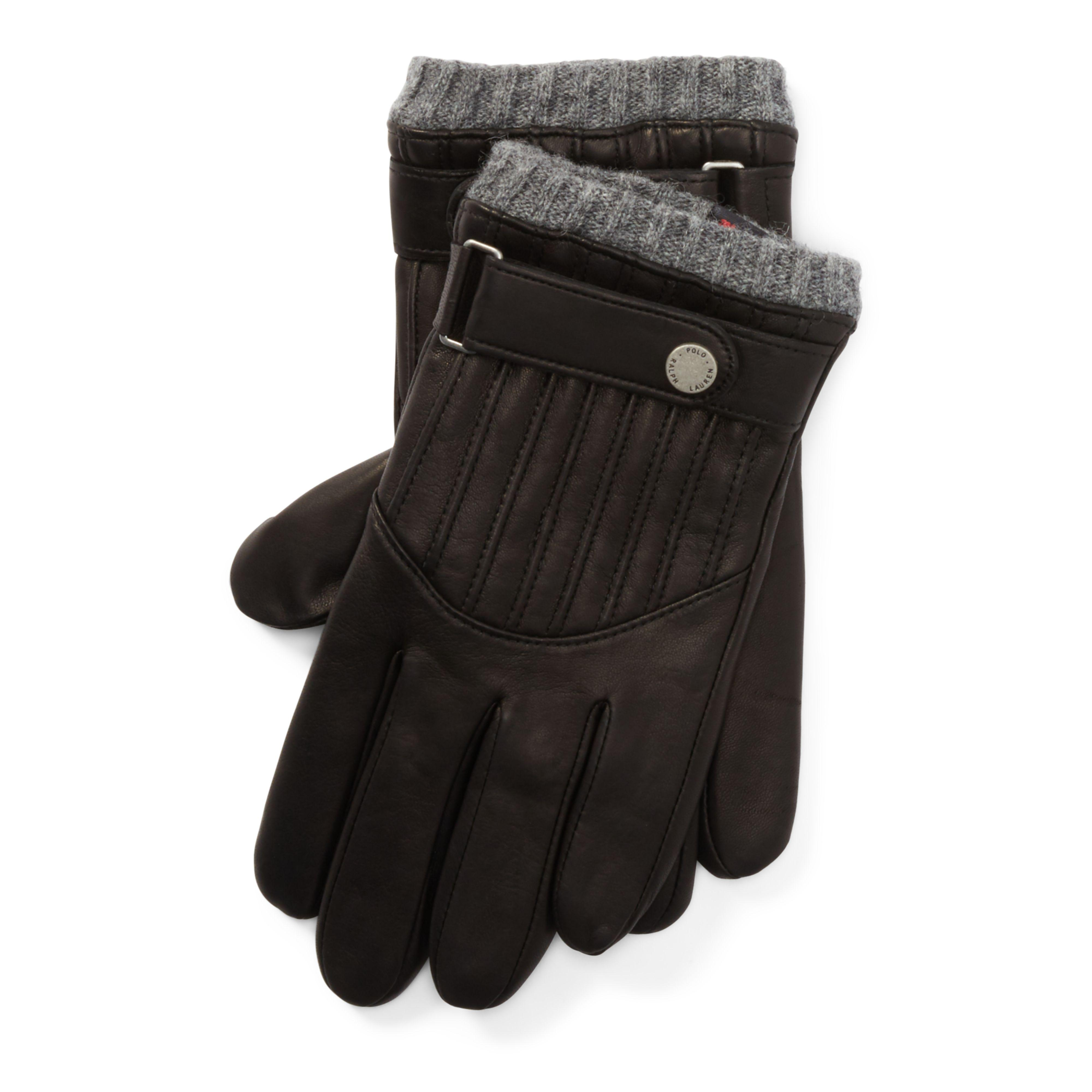 Lyst - Polo ralph lauren Quilted Leather Racing Gloves in Black ... : quilted racing gloves - Adamdwight.com
