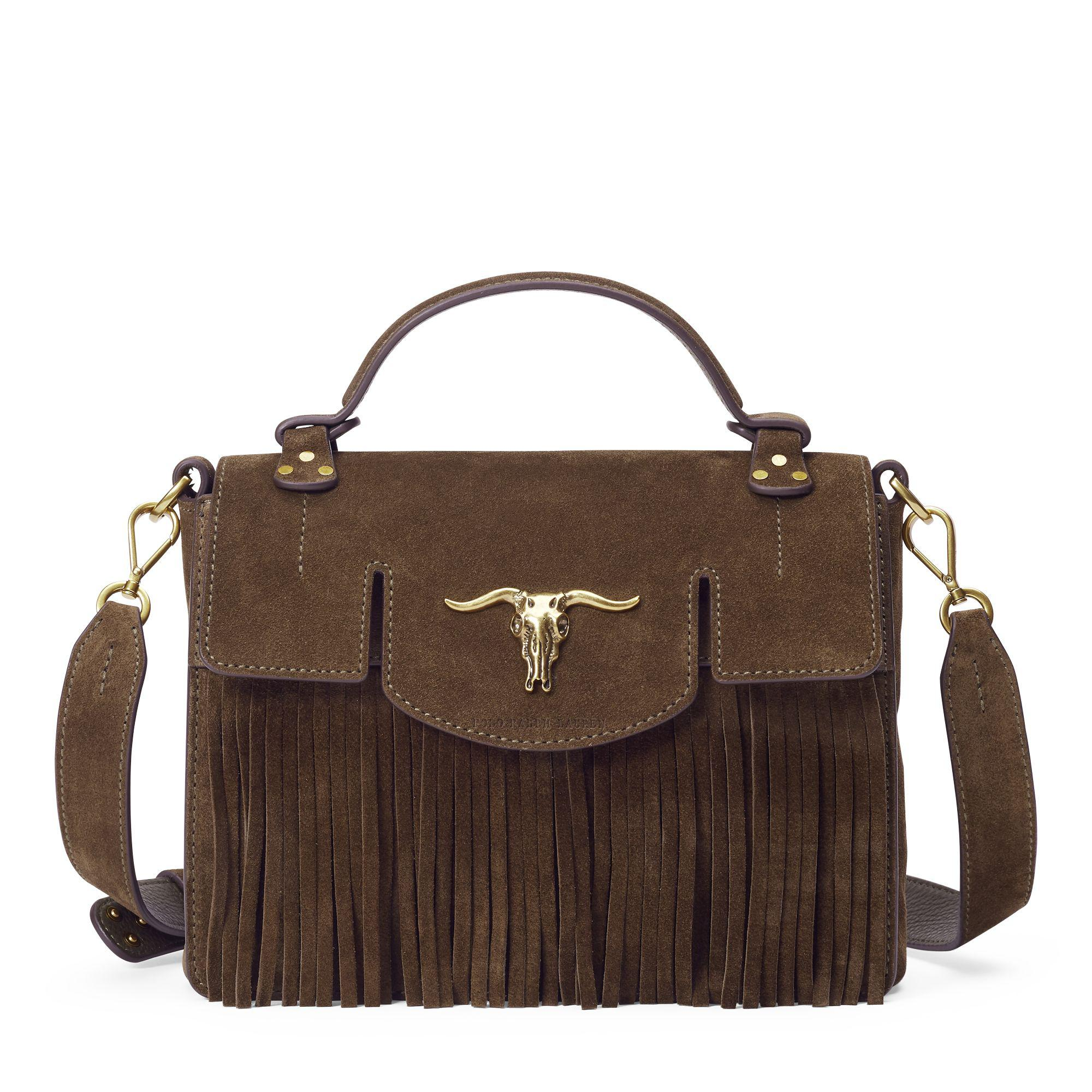 553ff2fc4c Polo Ralph Lauren Suede Small Fringe Schooly Bag in Green - Lyst