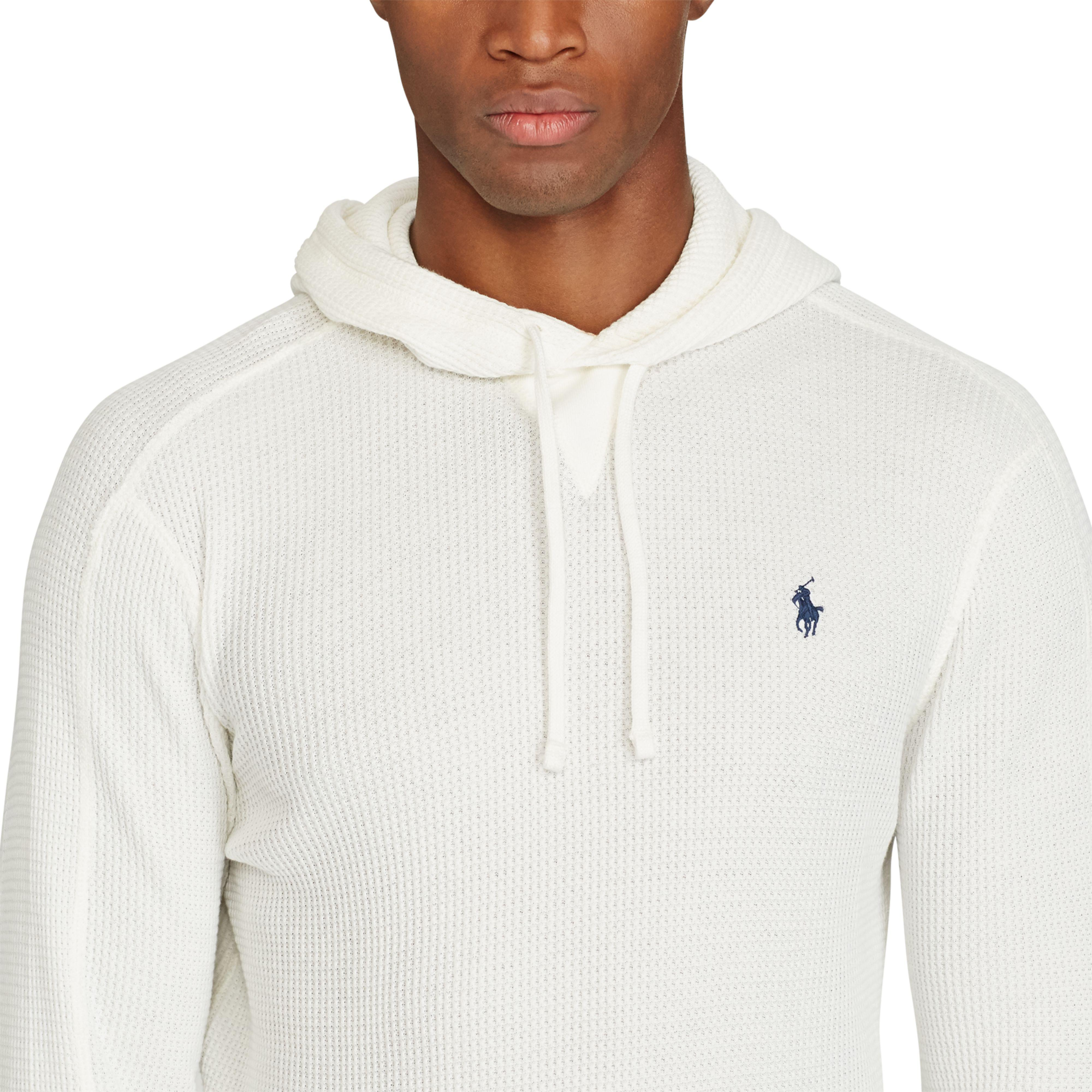 6e088f518 Polo Ralph Lauren Waffle-knit Cotton Hoodie in White for Men - Lyst