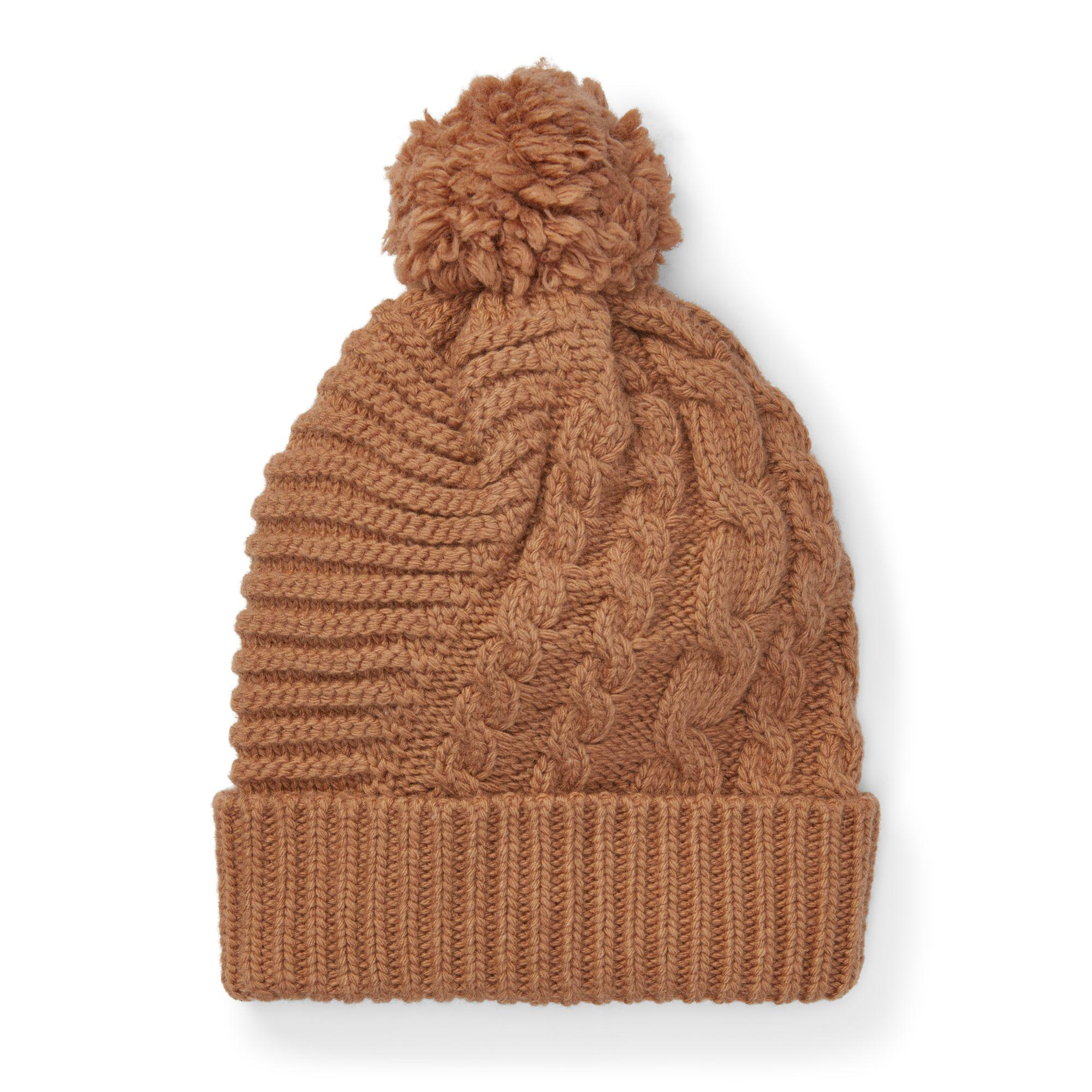 c20ad8bec43345 Lyst - Polo Ralph Lauren Pom-pom Cable-knit Hat in Brown